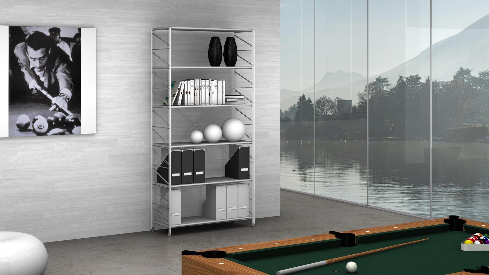 Libreria modulare in metallo SOCRATE l.100xp.35xh.200