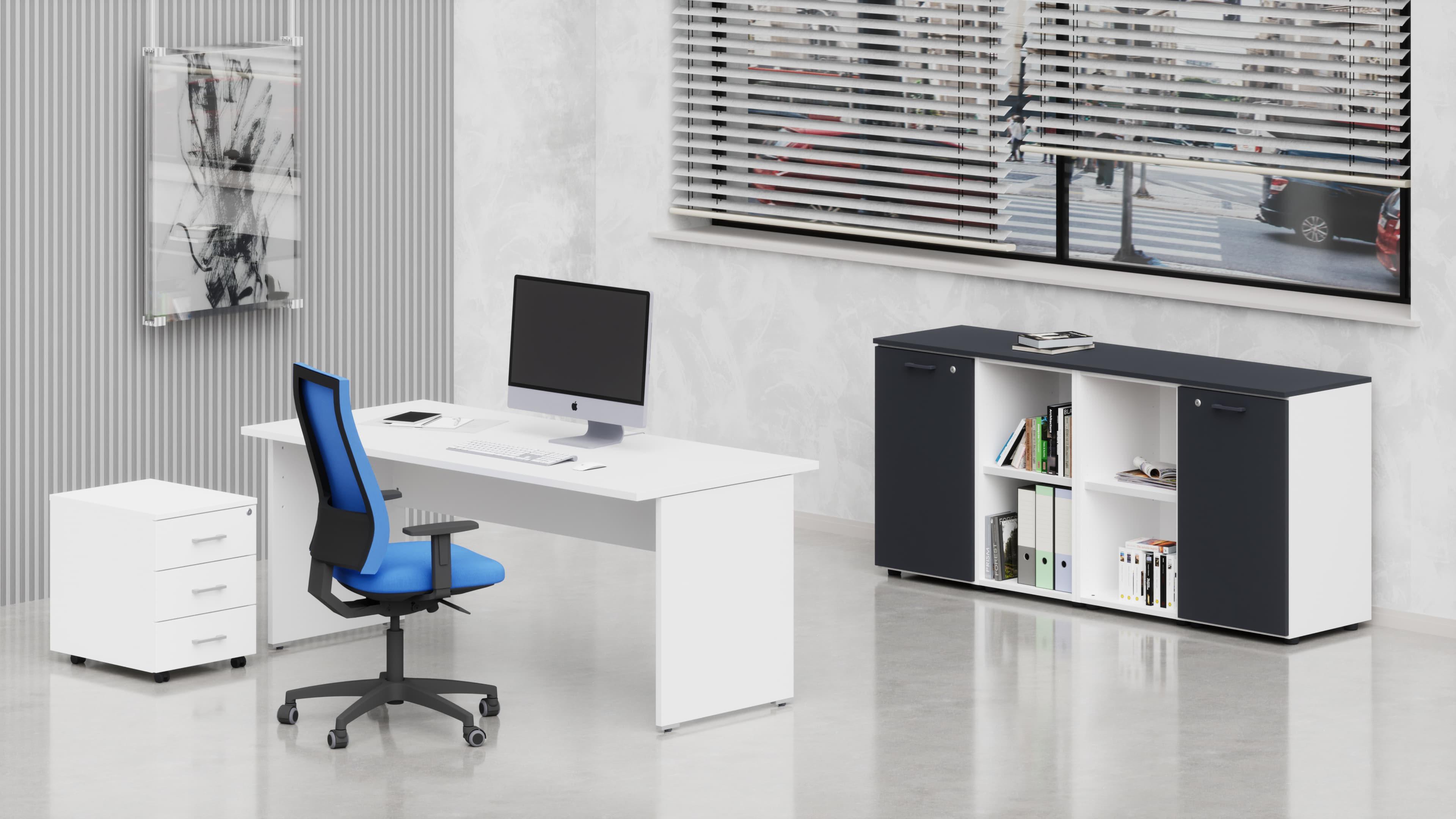 Uffici operativi NET pannello scrivania, cassettiera e contenitori universali bassi