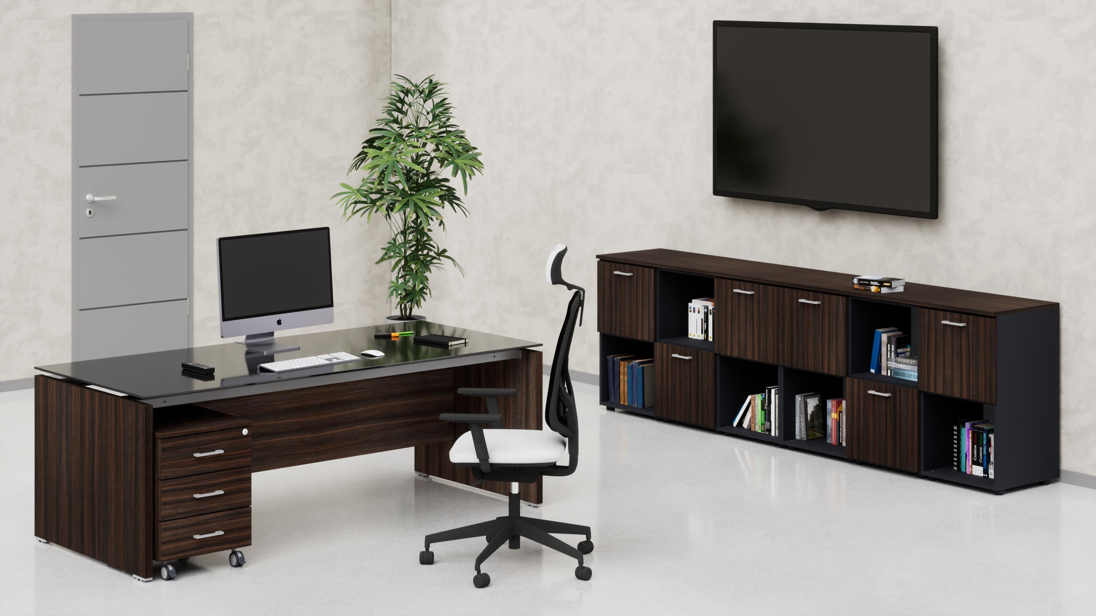 Uffici direzionali BETA scrivania piano vetro, cassettiera e contenitori universali bassi