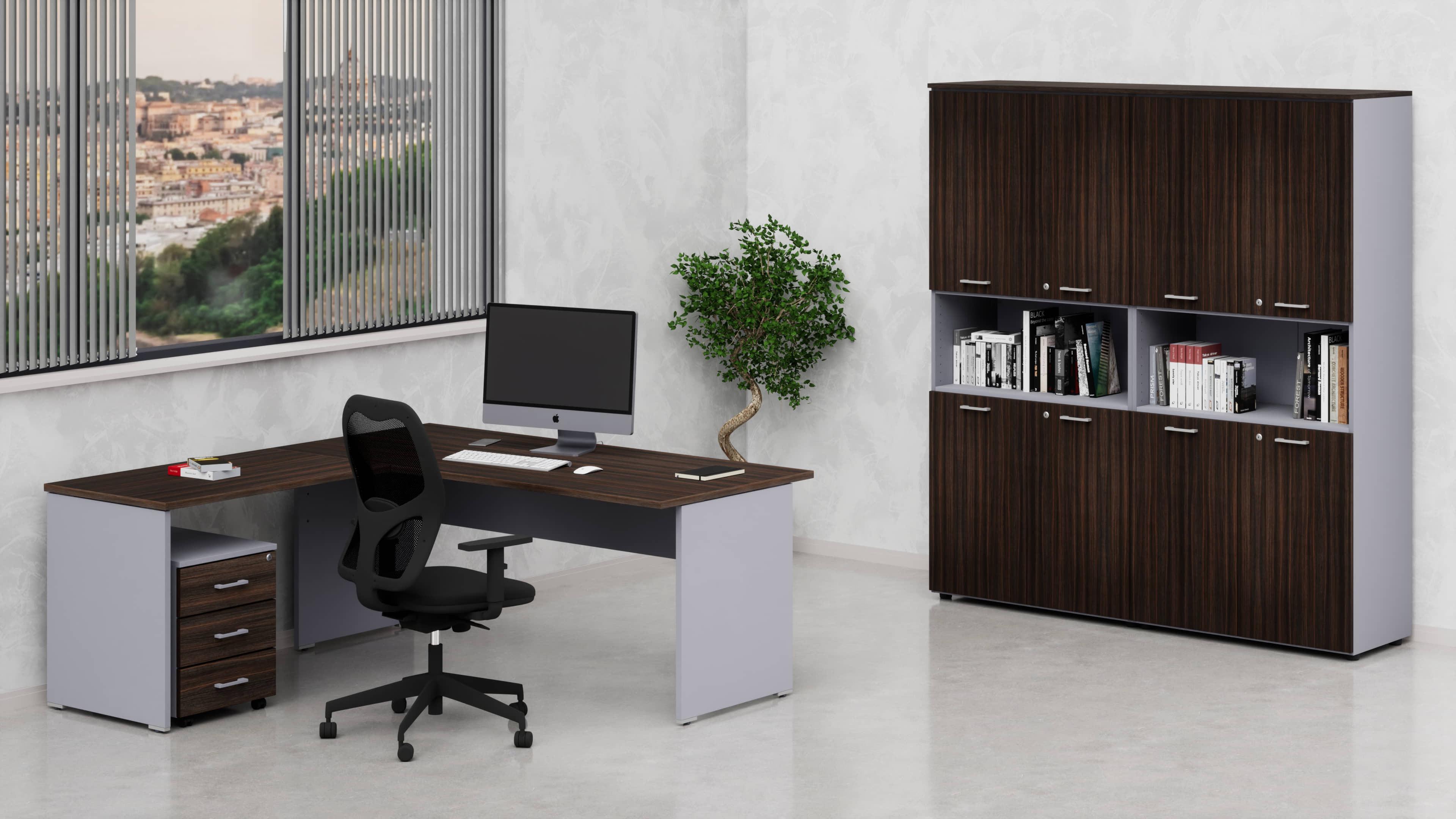 Arredo ufficio operativo NET pannello con mobile libreria alto