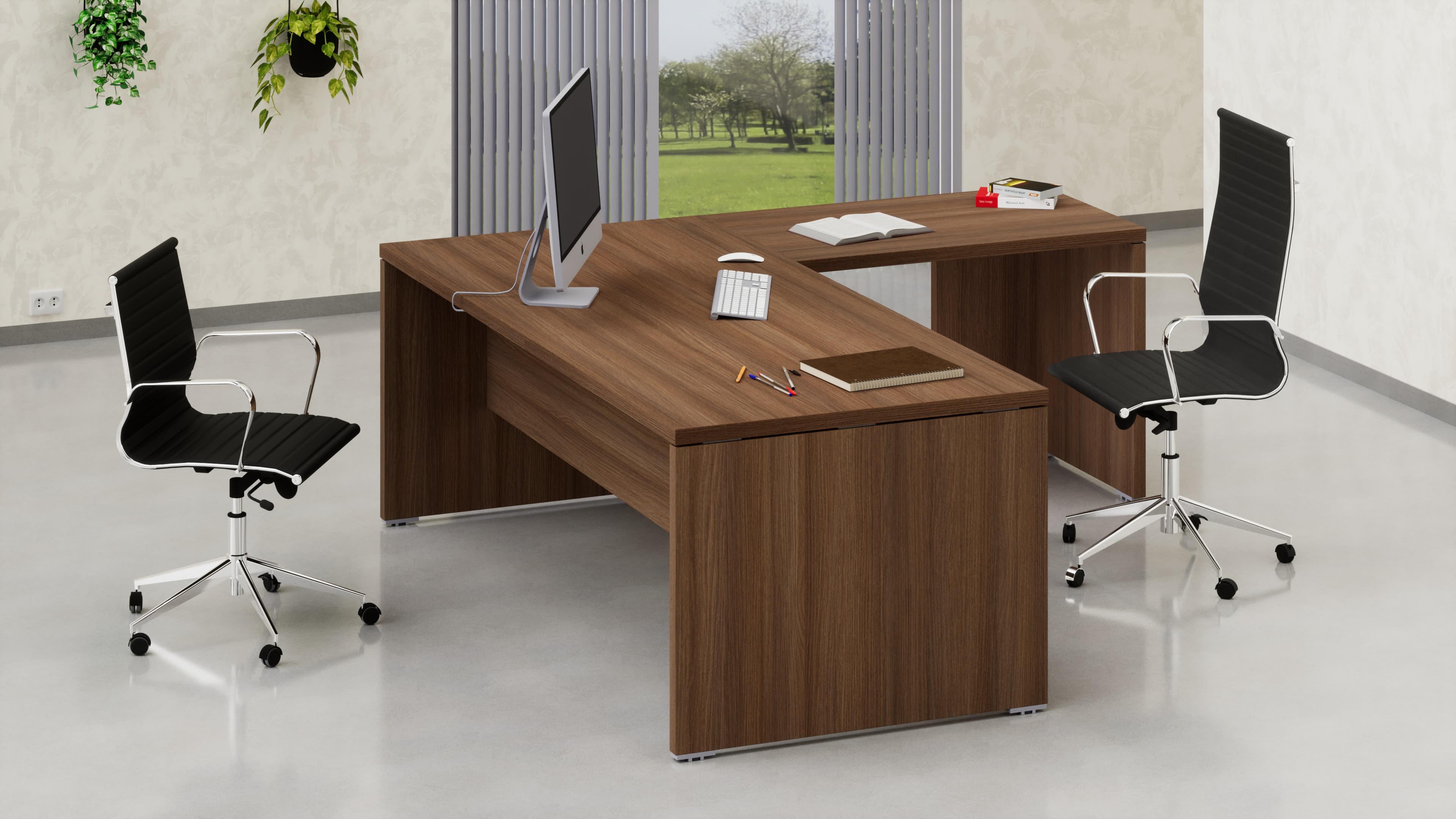 Scrivania legno per ufficio direzionale con allungo laterale