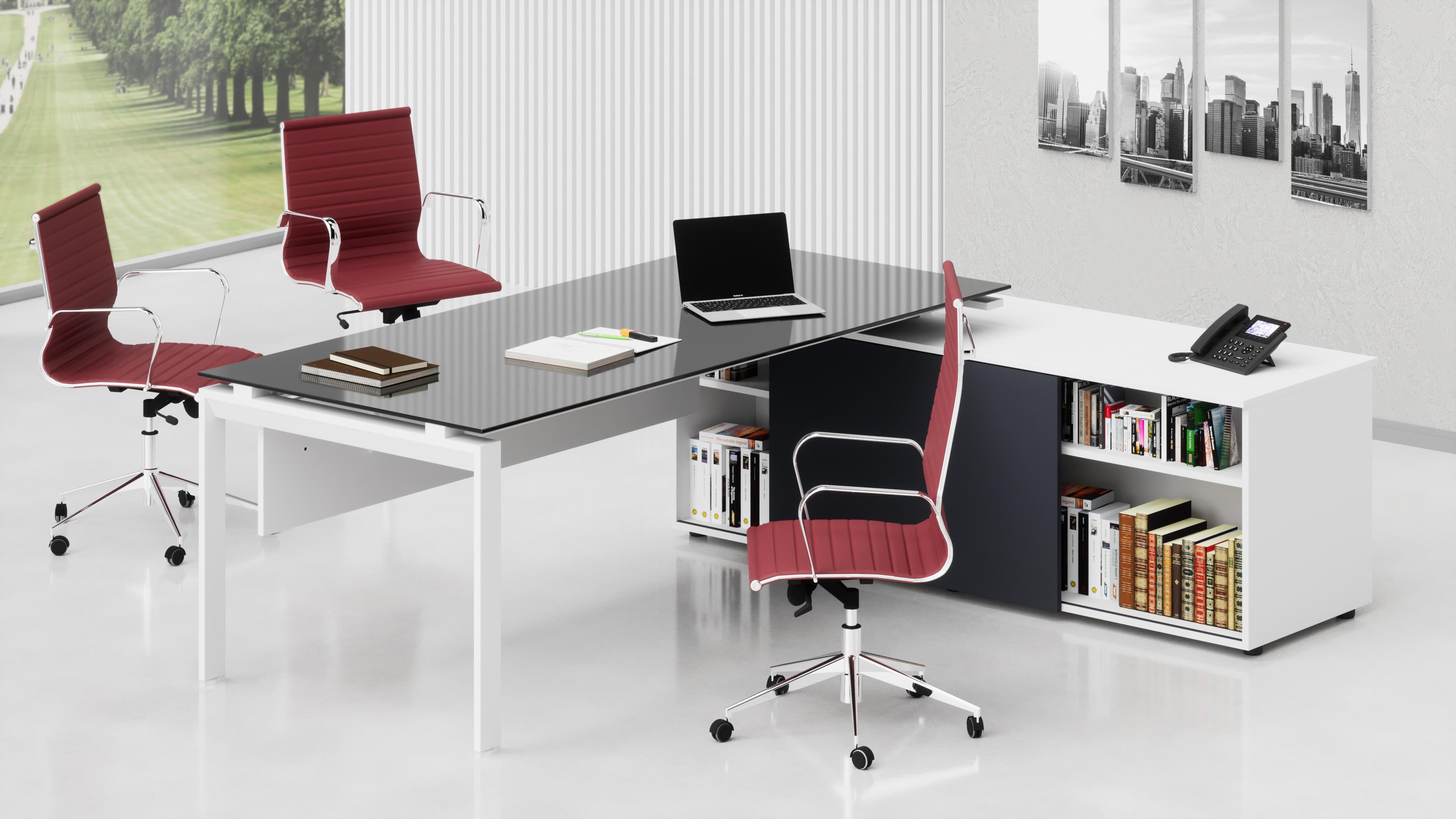 Scrivania ufficio direzionale SCACCO L.230 piano in vetro, mobile di servizio reversibile