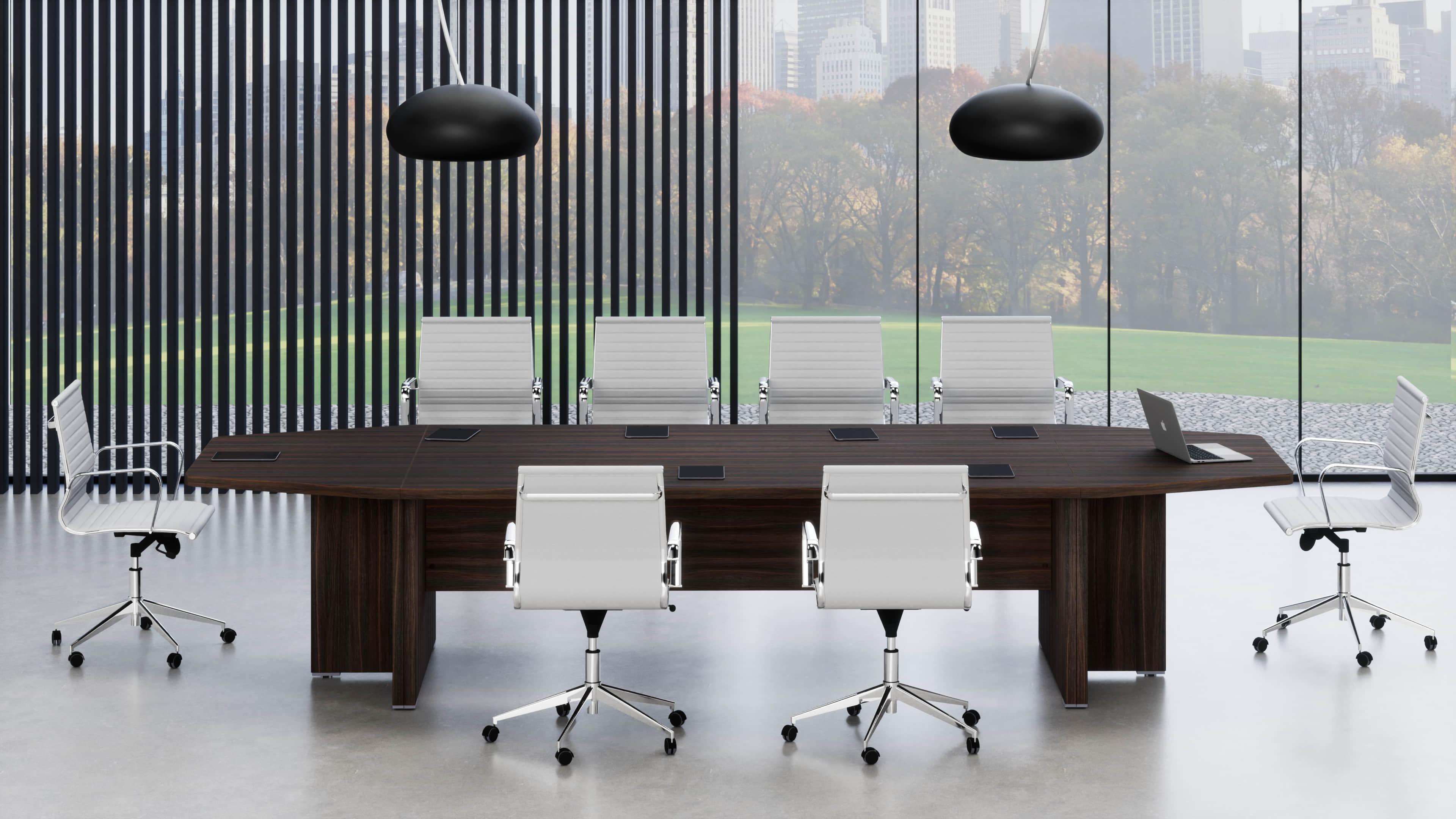 Tavolo riunione aggregabile con 2 penisole terminali
