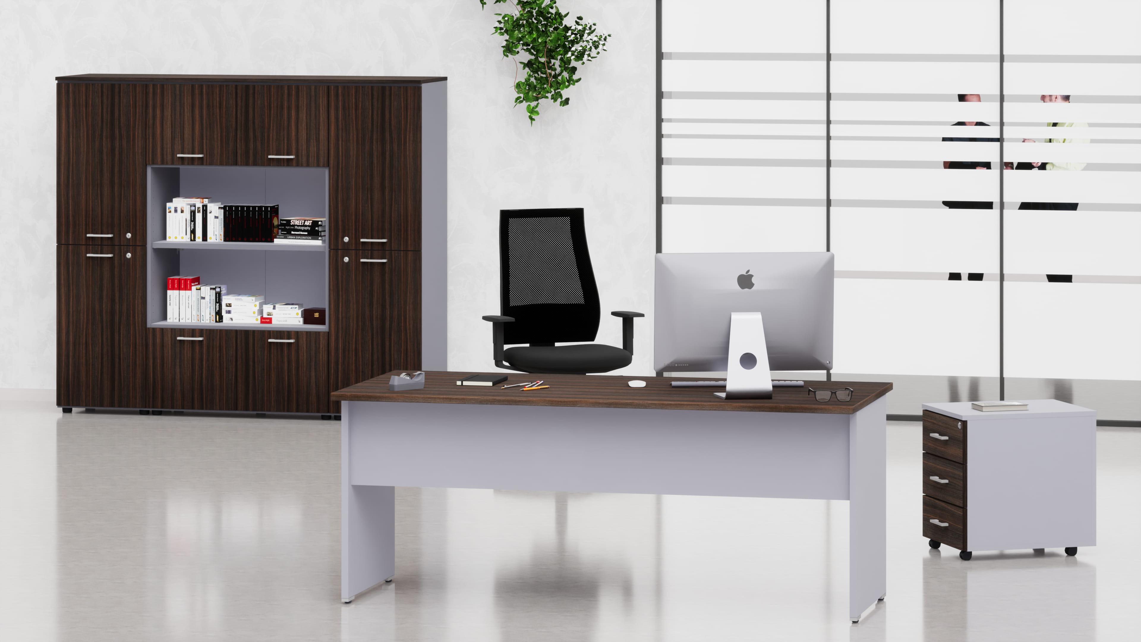 Uffici operativi NET pannello scrivania, cassettiera e contenitori universali medi