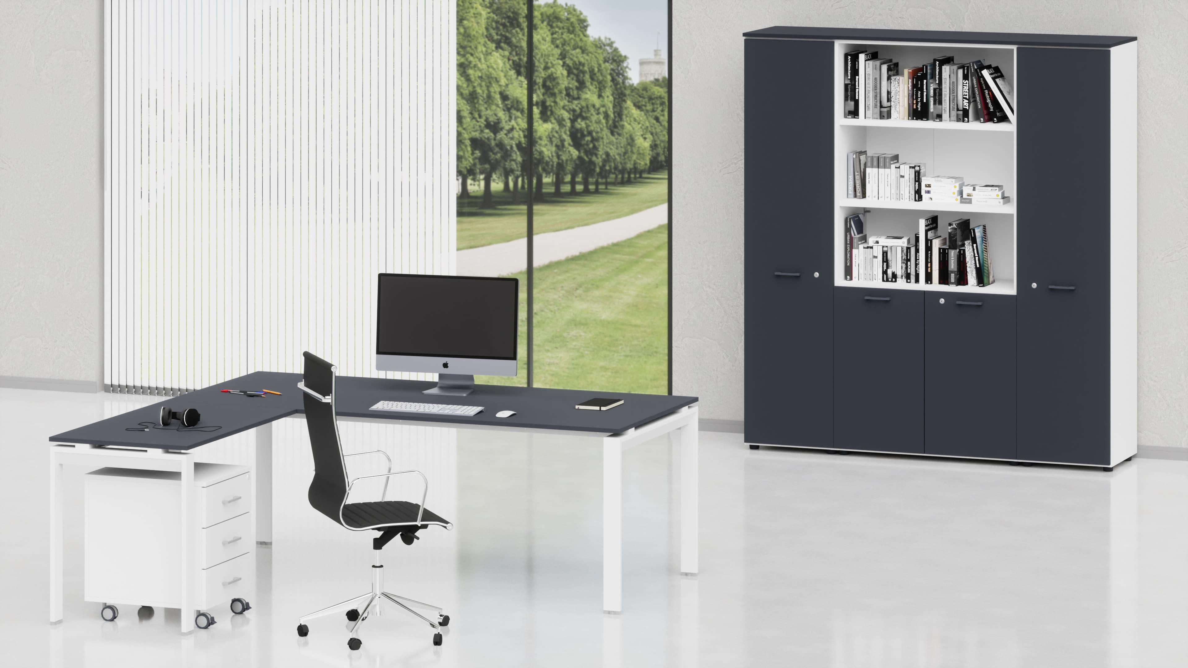Uffici direzionali SCACCO scrivania, allungo, cassettiera e contenitori universali alti