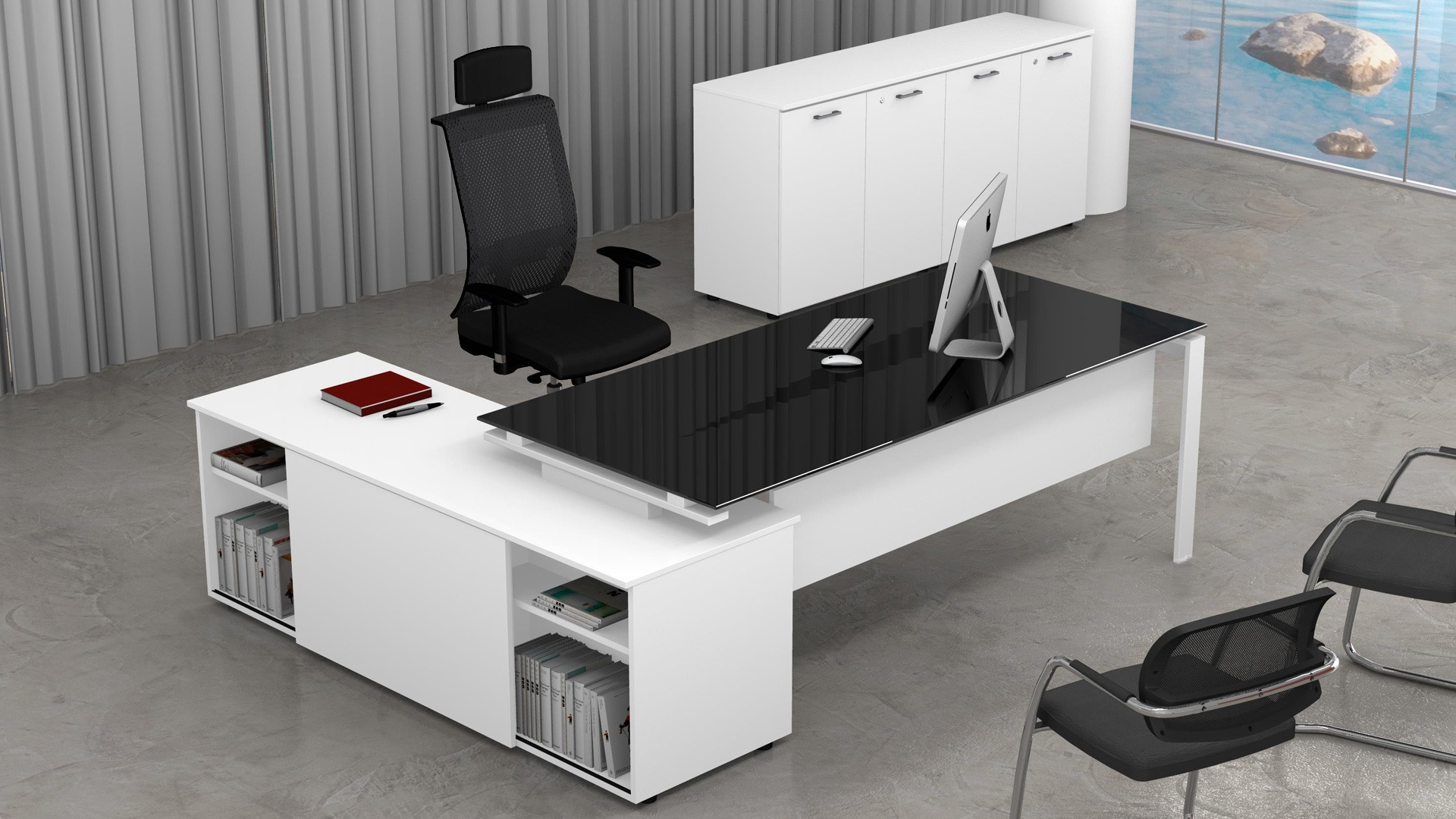 Uffici direzionali SCACCO scrivania piano vetro con mobile di servizio e contenitori universali bassi