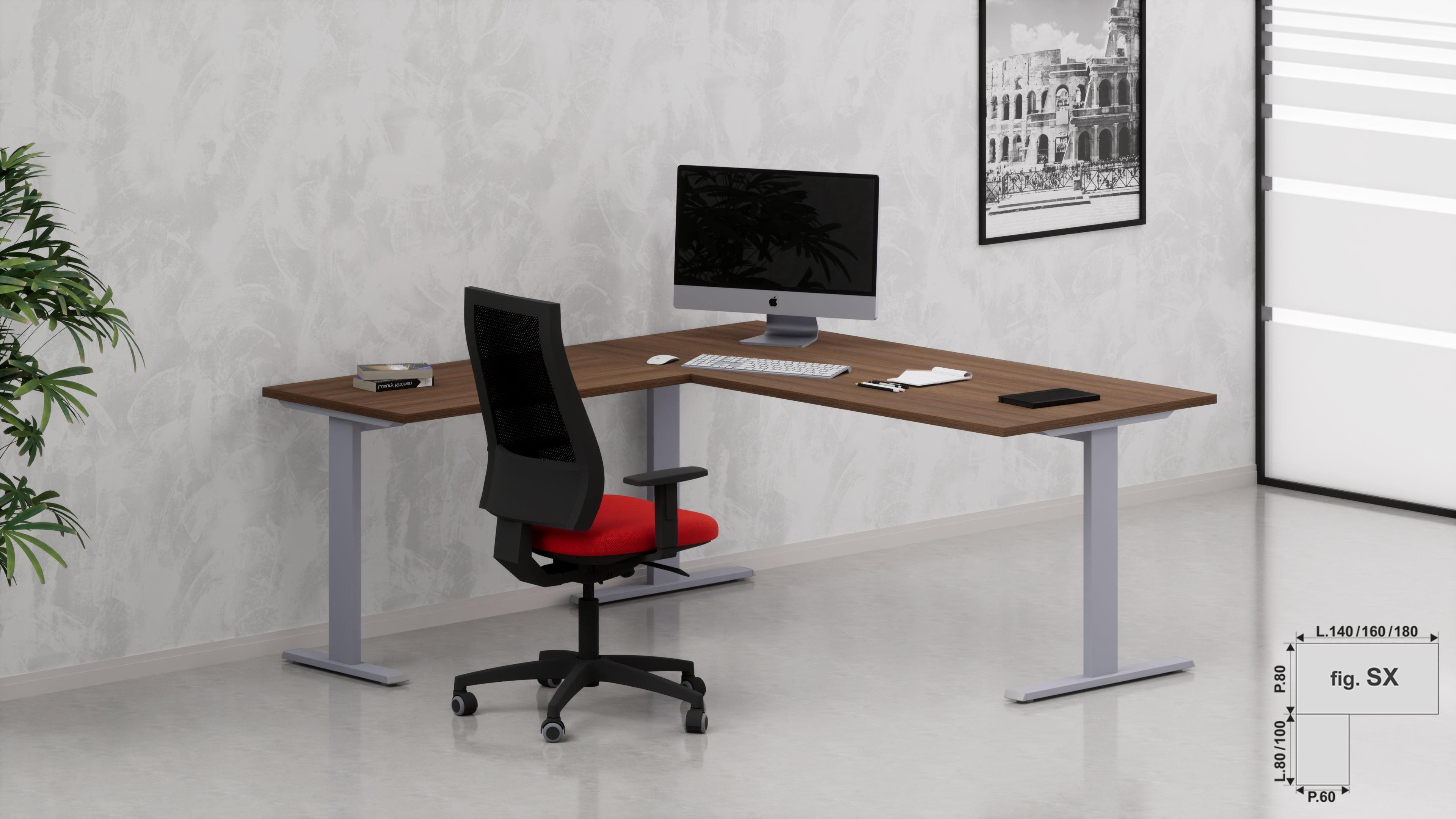 Scrivania ufficio operativa NET metallica L.80/100/120/140/160/180 con allungo laterale reversibile