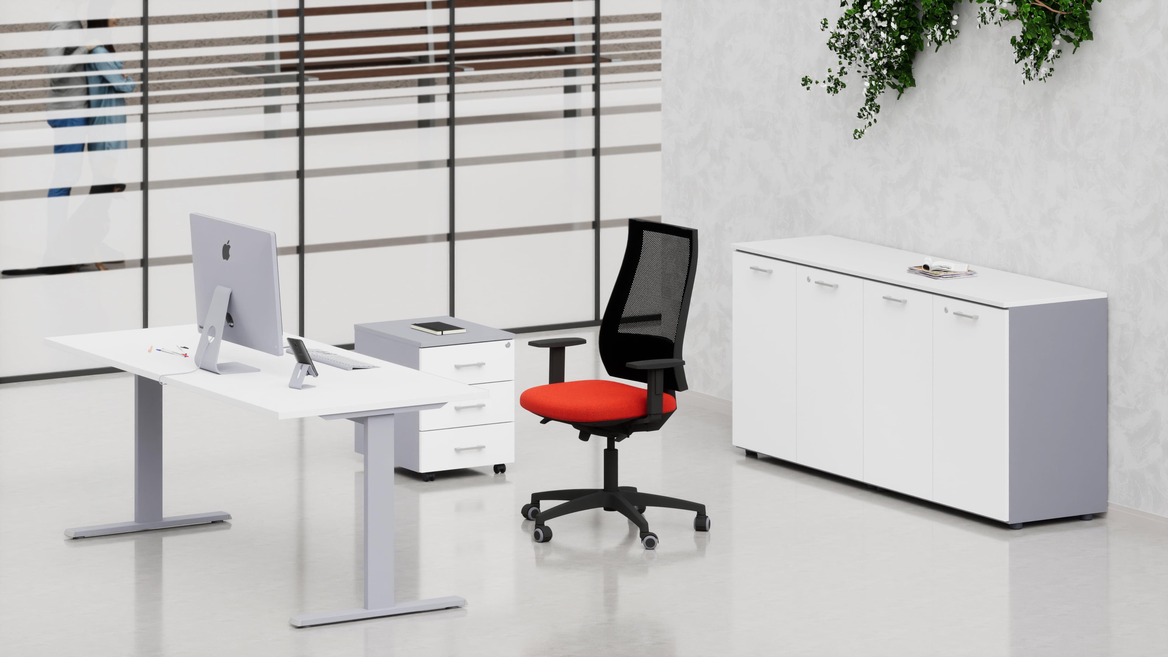 Uffici operativi NET metallica scrivania, cassettiera e contenitori universali bassi