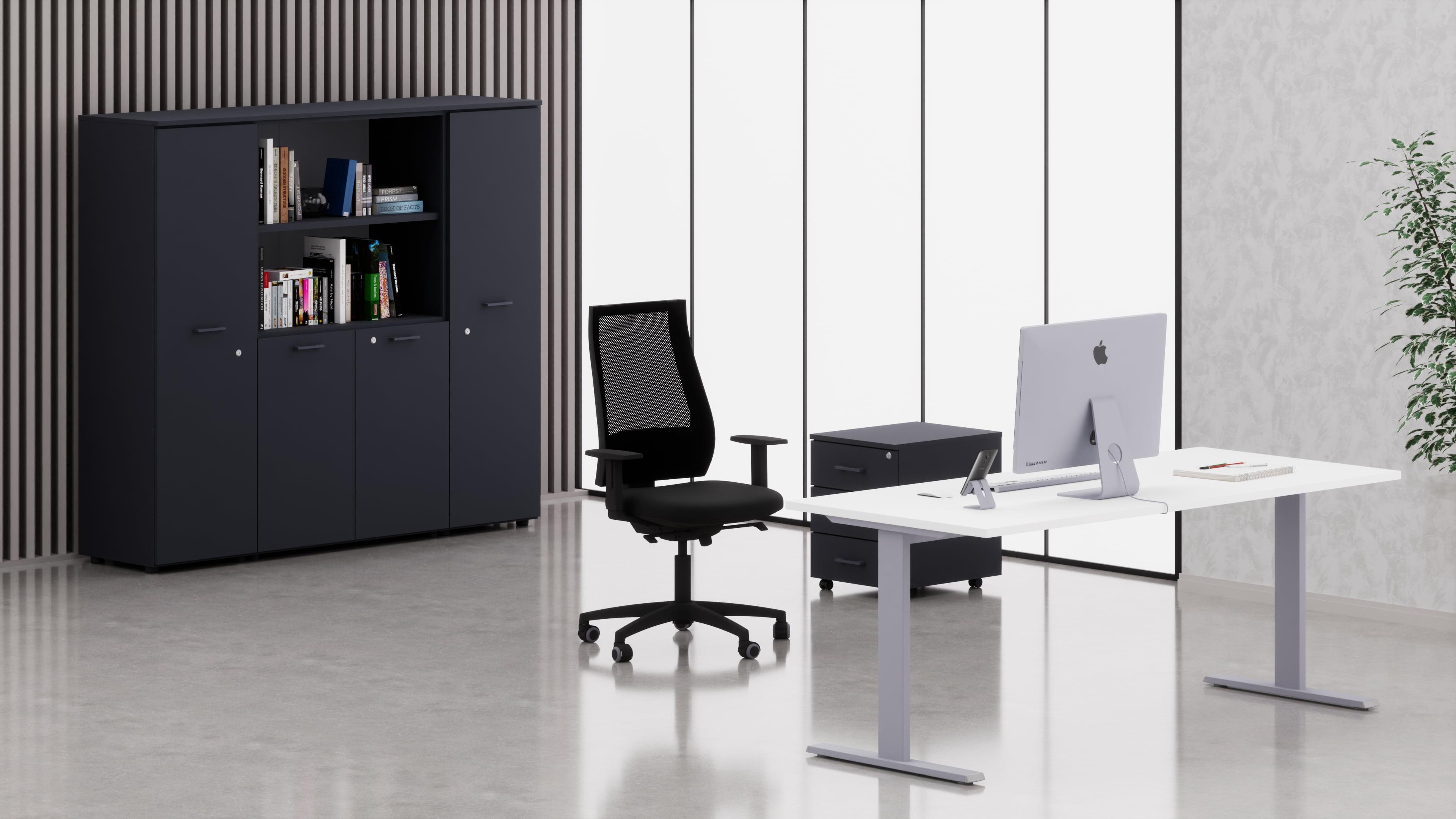 Uffici operativi NET metallica scrivania, cassettiera e contenitori universali medi