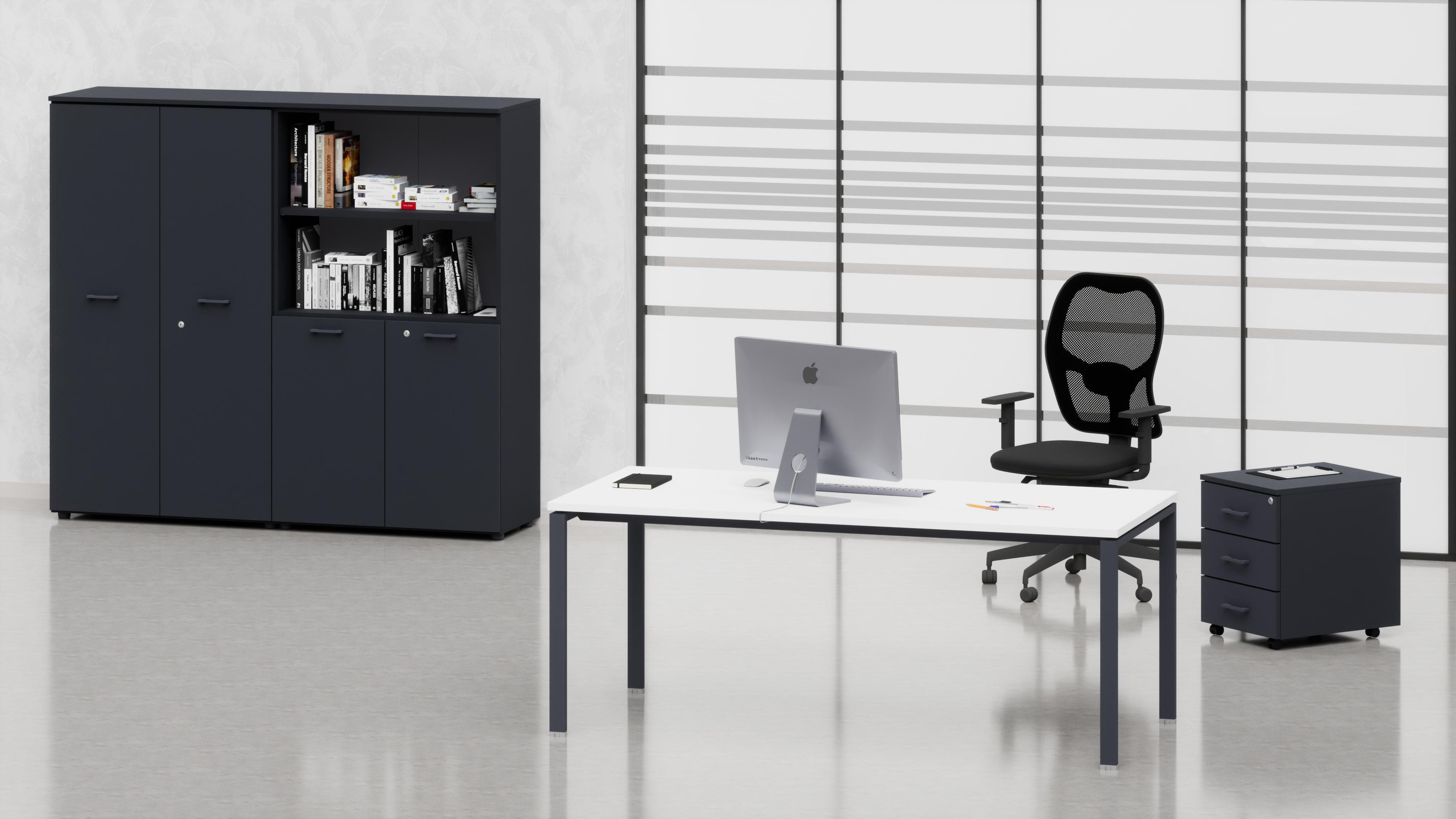 Uffici operativi NET ponte scrivania, cassettiera e contenitori universali medi