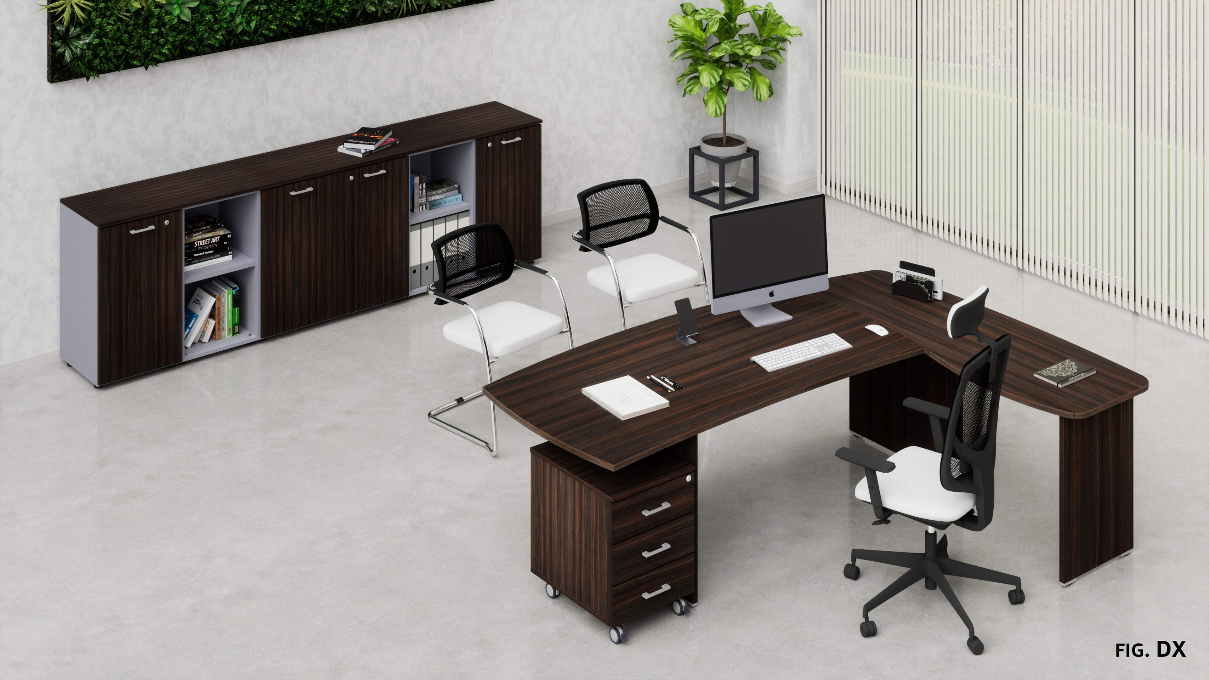 Uffici operativi NET pannello scrivania, allungo, cassettiera e contenitori universali bassi