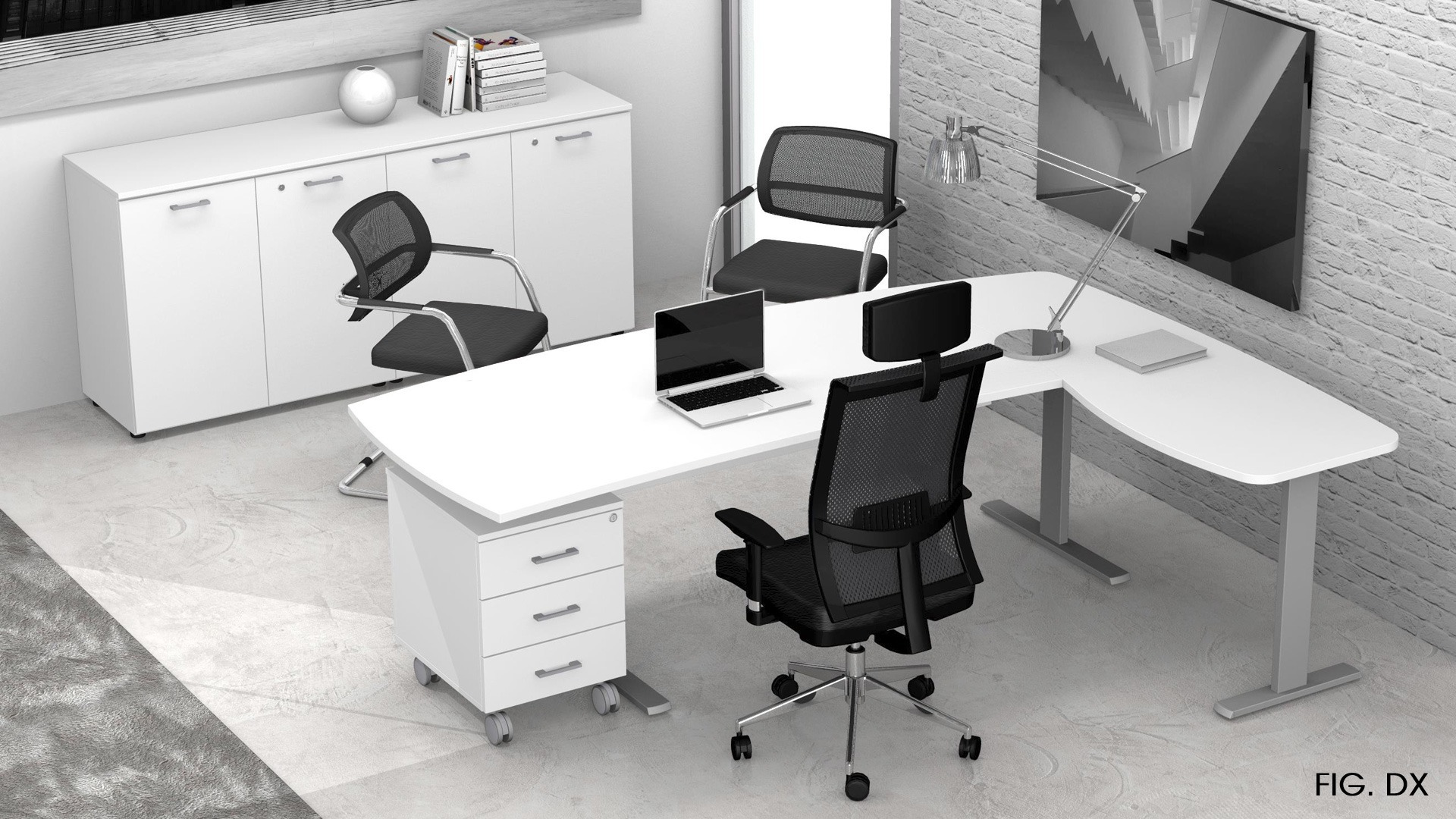 Uffici operativi NET metallica scrivania, allungo, cassettiera e contenitori universali bassi