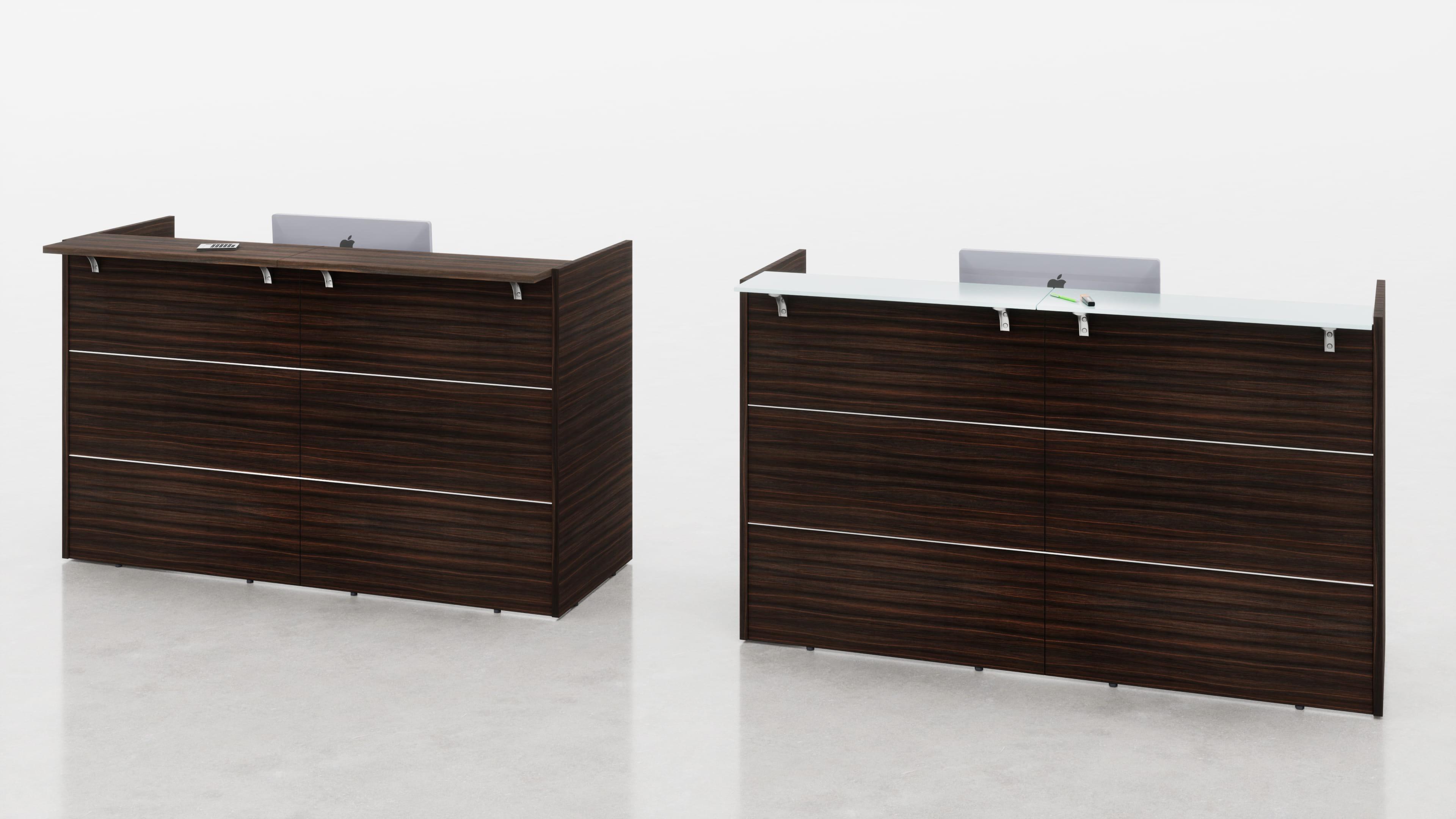 Reception lineare con top mensola legno o vetro L.185