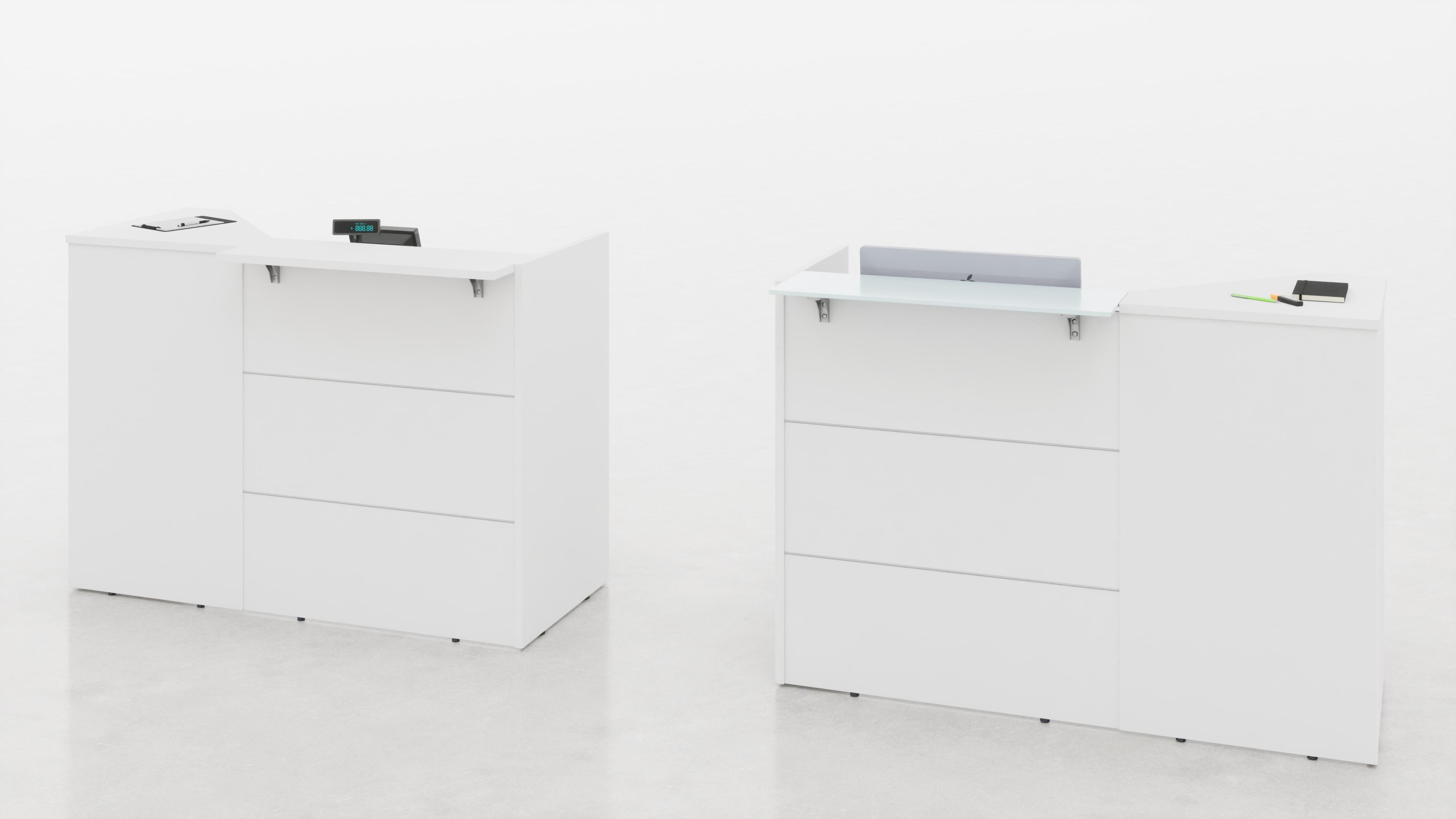 Reception angolare con top mensola legno o vetro L.155, 7