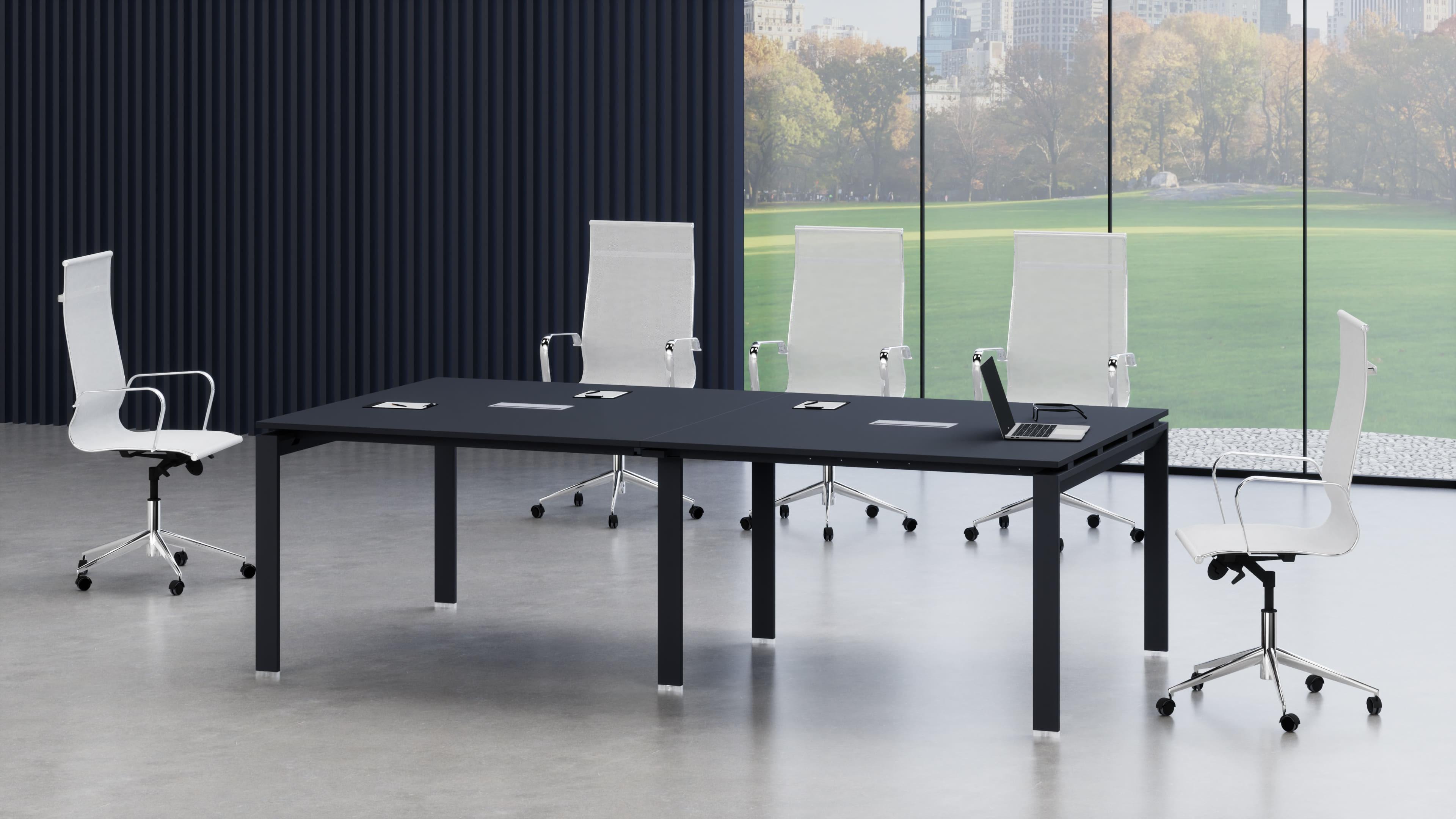 Tavolo riunione rettangolare con struttura metallica a ponte
