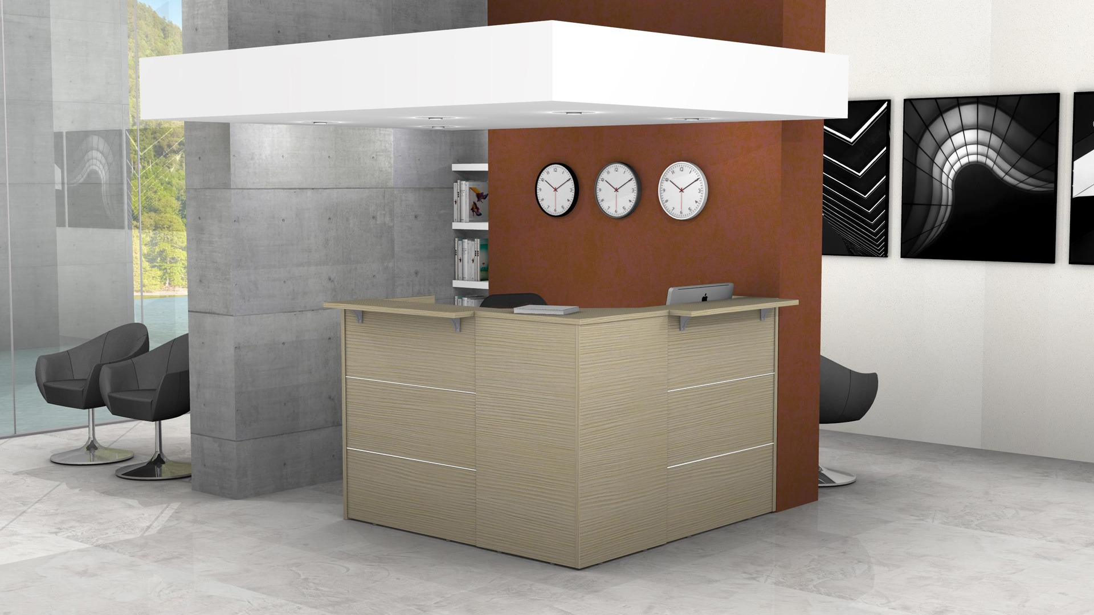 Reception angolare con top mensola legno o vetro L.168, 5