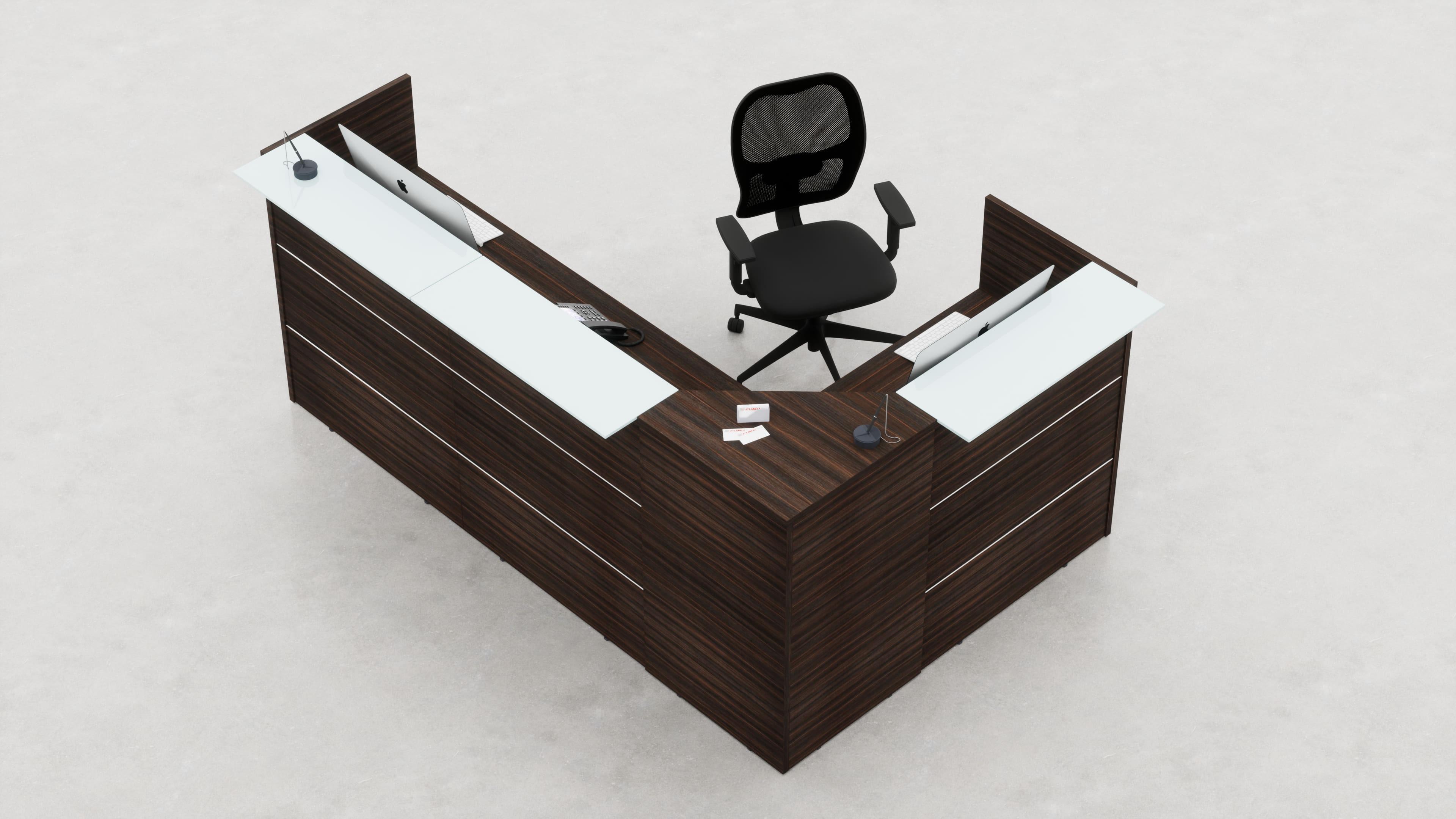 Reception angolare con top mensola vetro o legno L.258, 5
