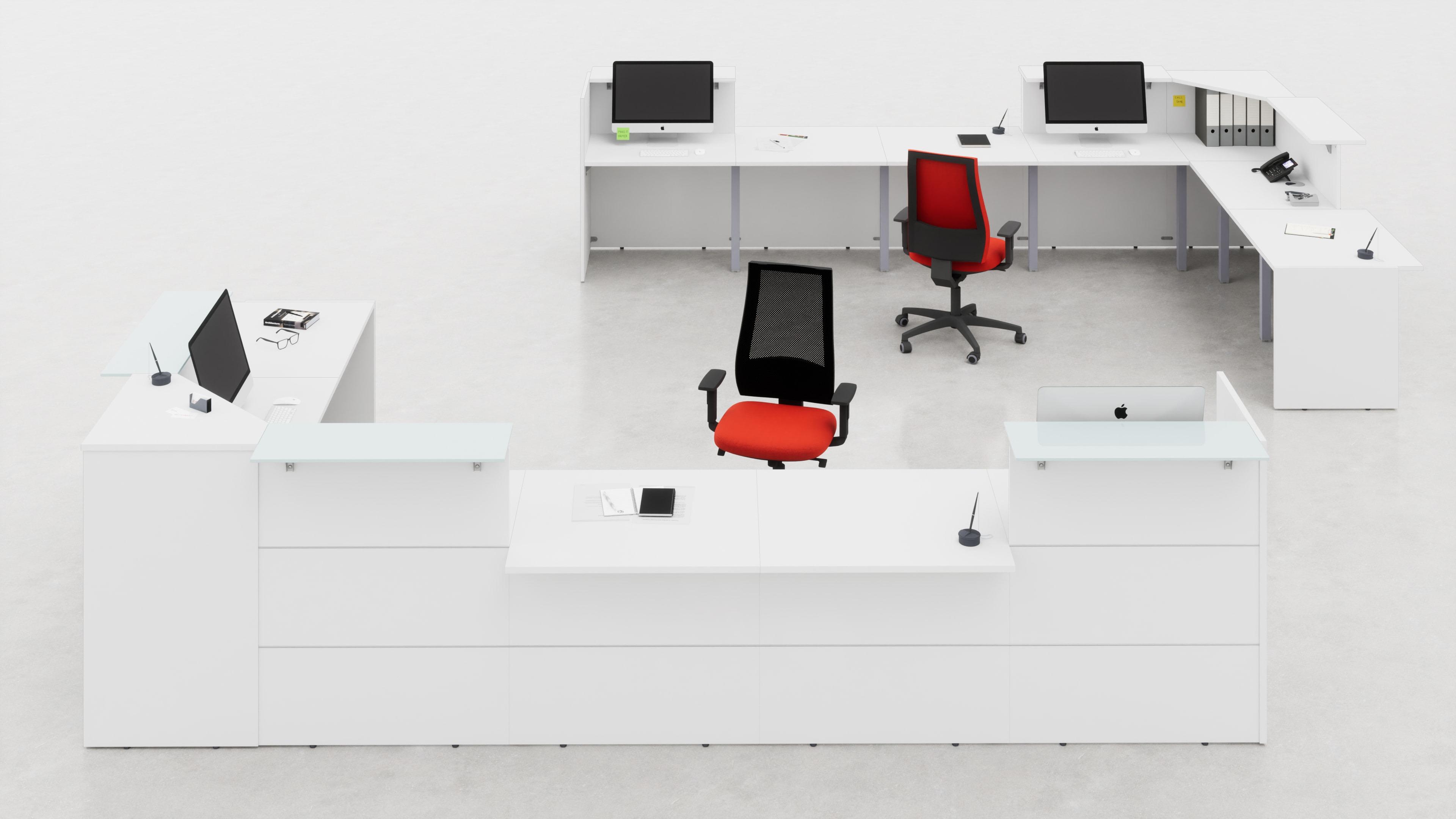 Reception angolare con top mensola vetro o legno con piani conversazione