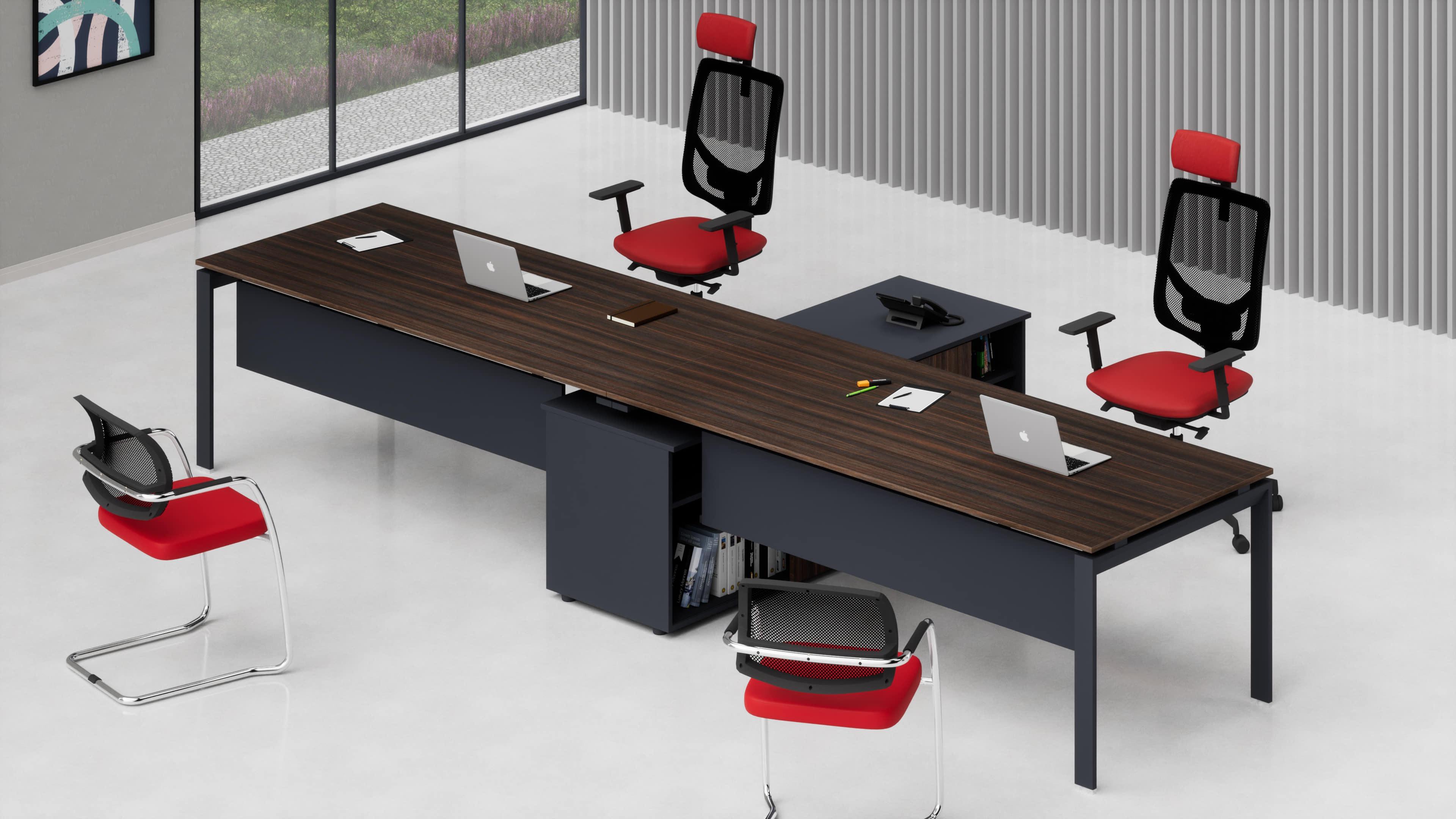 2 scrivanie ufficio direzionali SCACCO L.360/400 con mobile di servizio centrale
