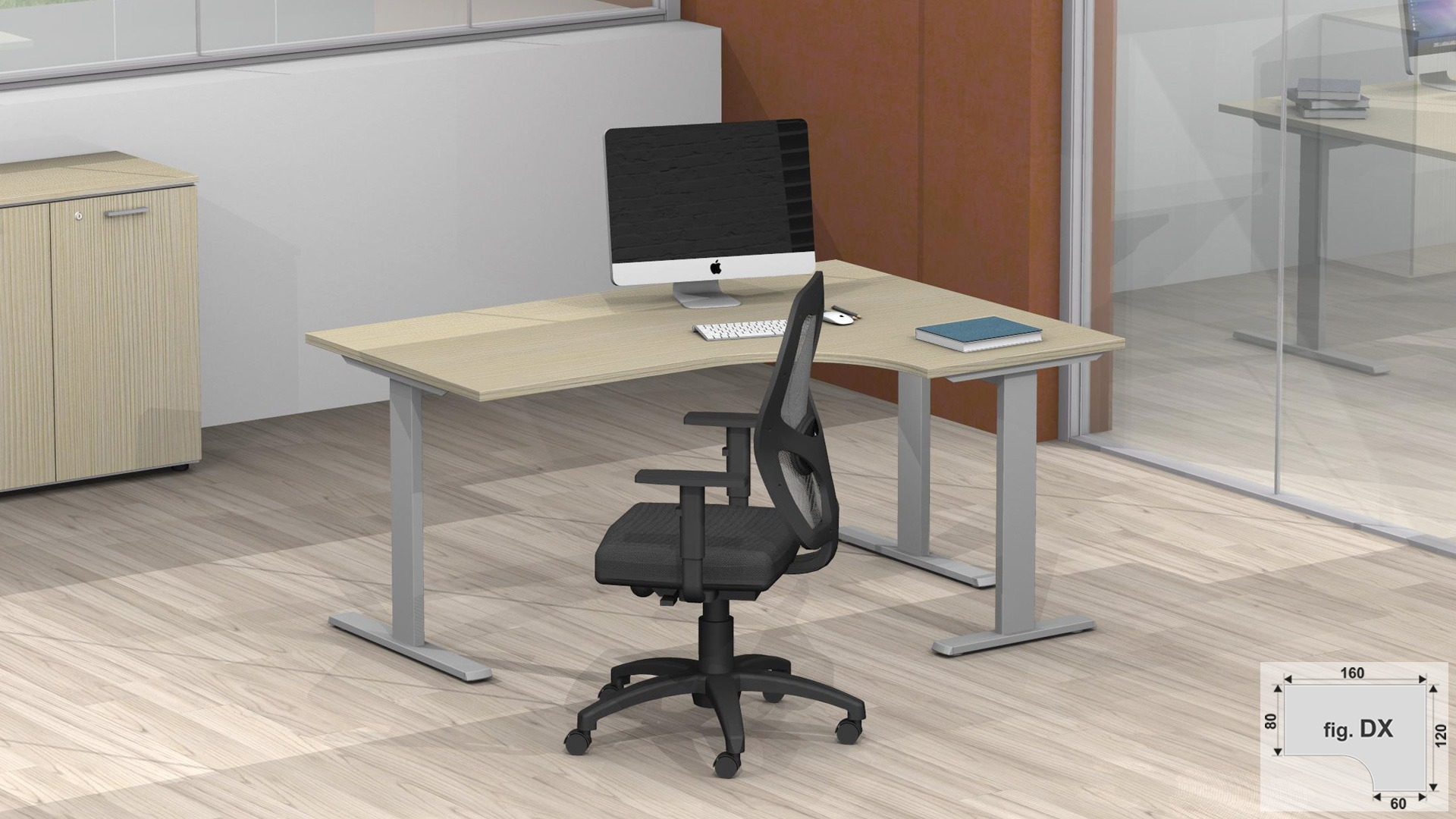 Scrivania workstation DX o SX con struttura metallica