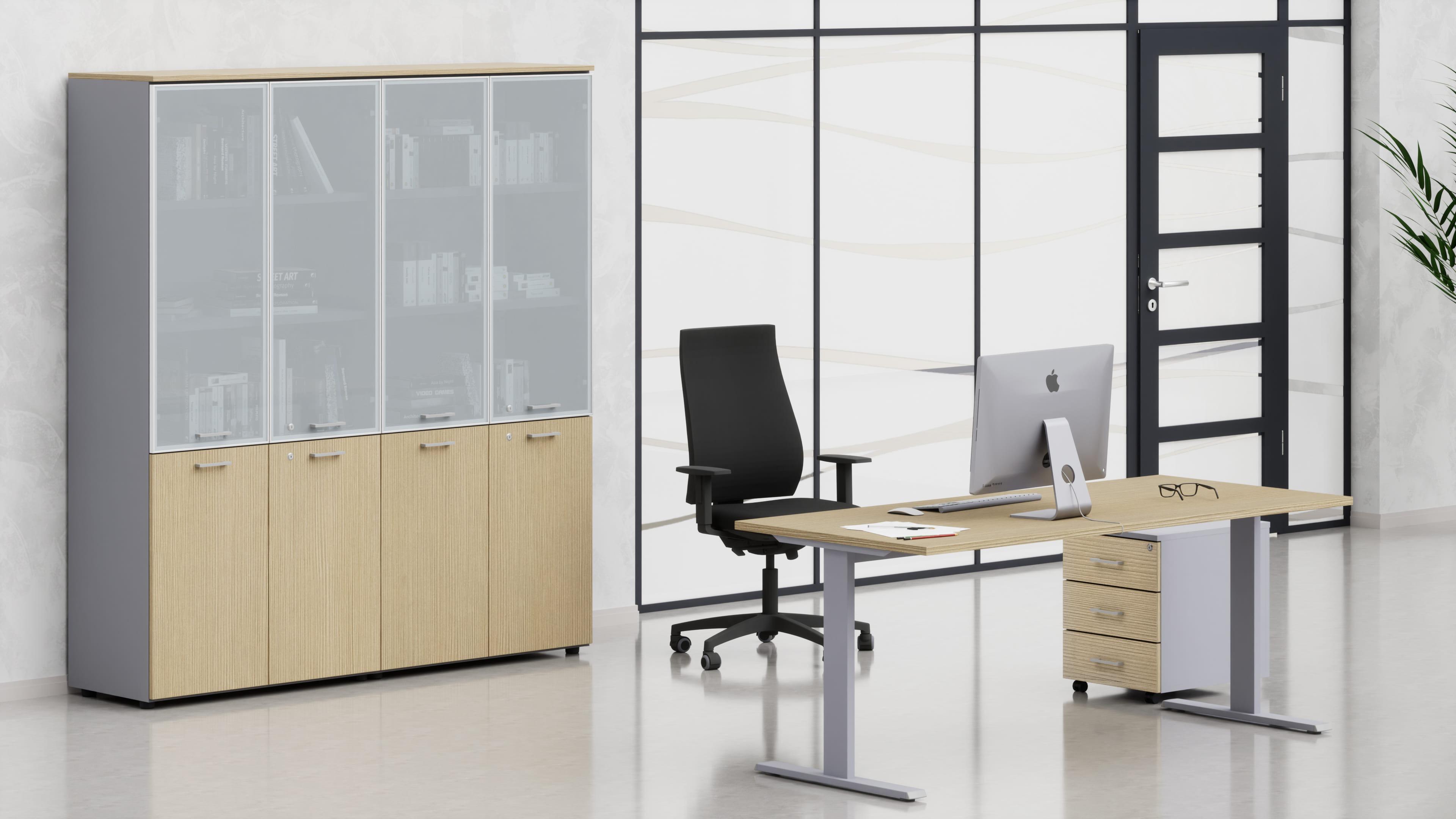 Uffici operativi NET metallica scrivania, cassettiera e contenitori universali alti