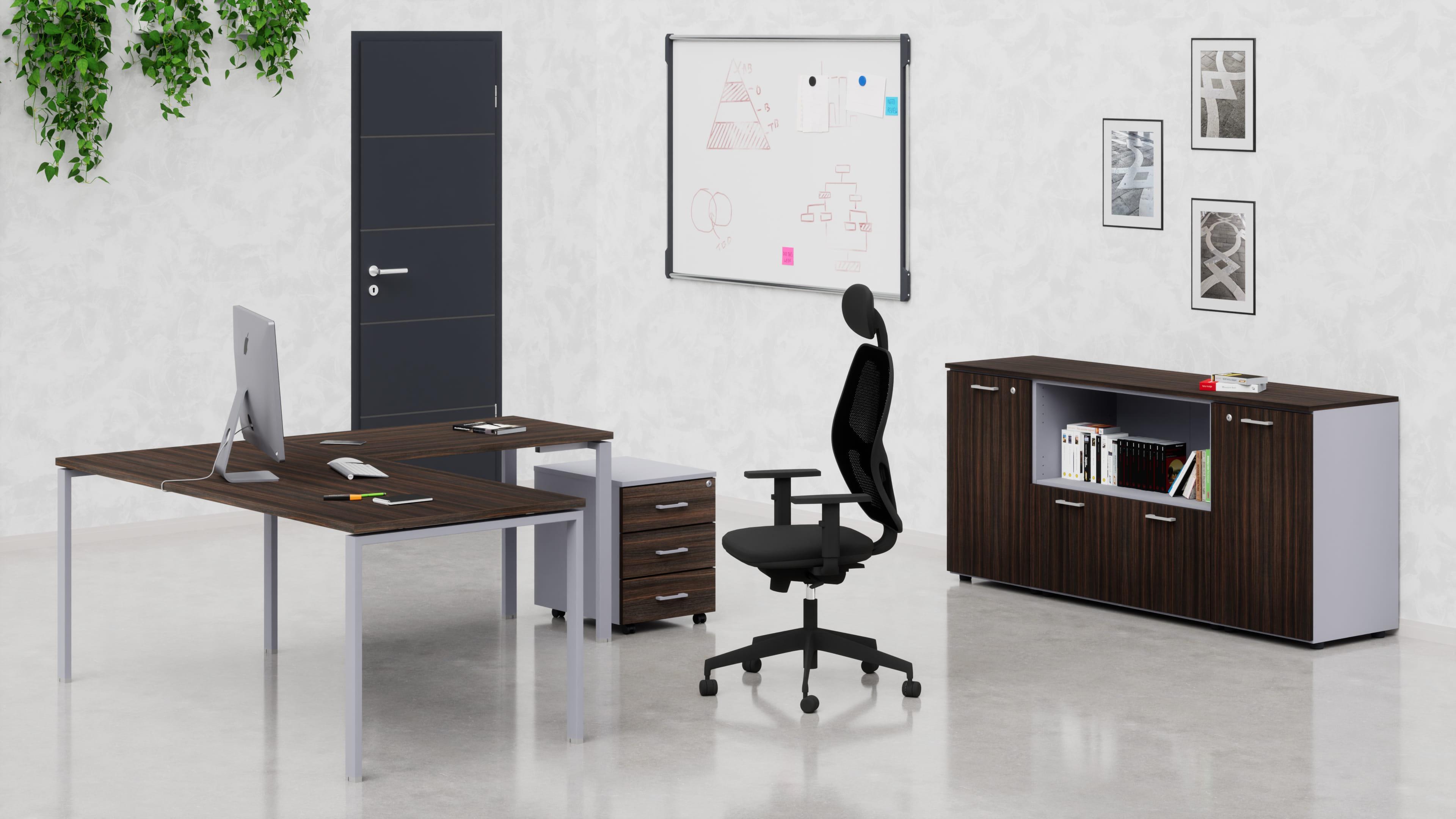 Uffici operativi NET ponte scrivania, cassettiera e contenitori universali bassi