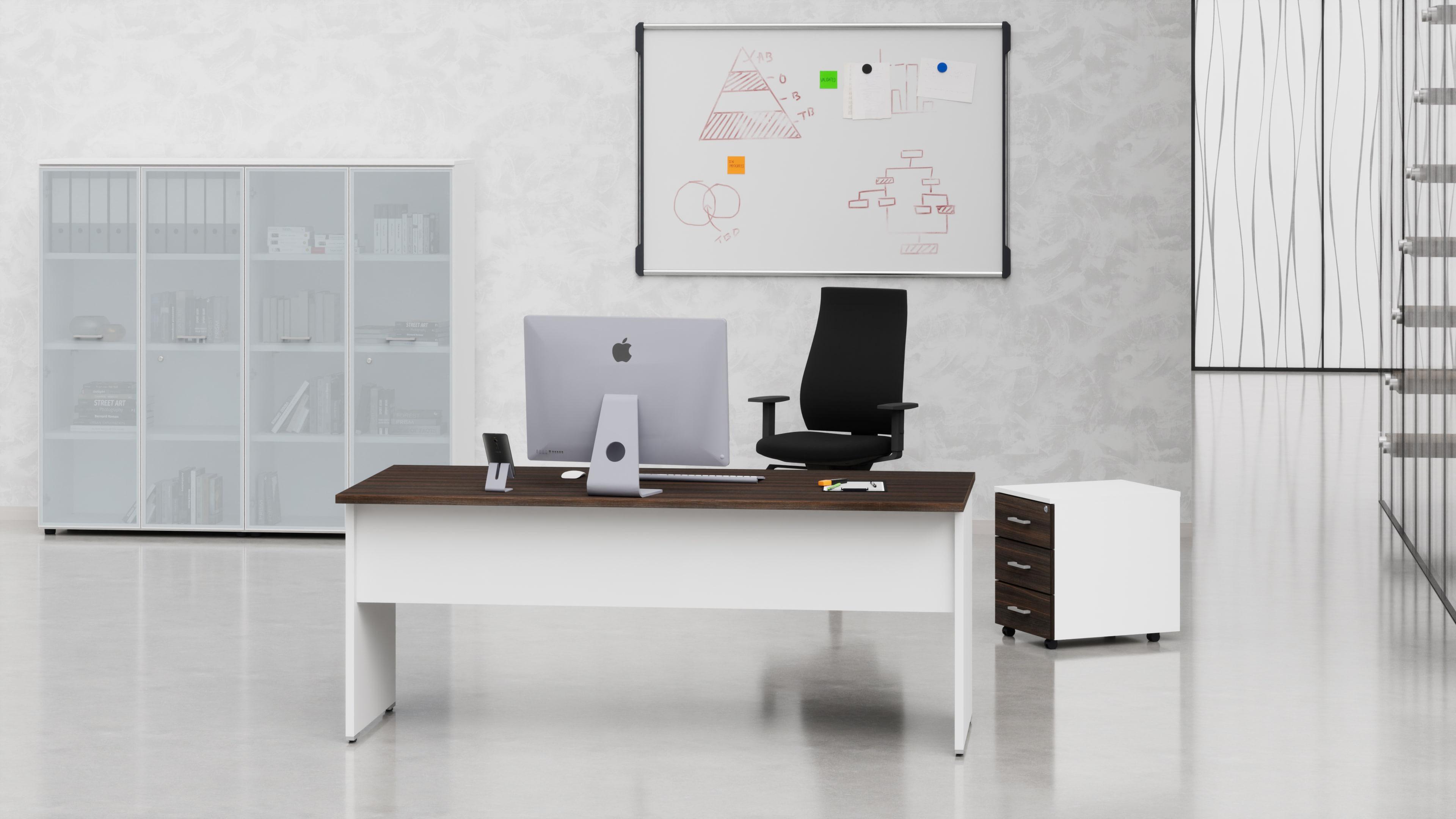 Uffici operativi NET pannello scrivania, cassettiera e contenitori universali alti