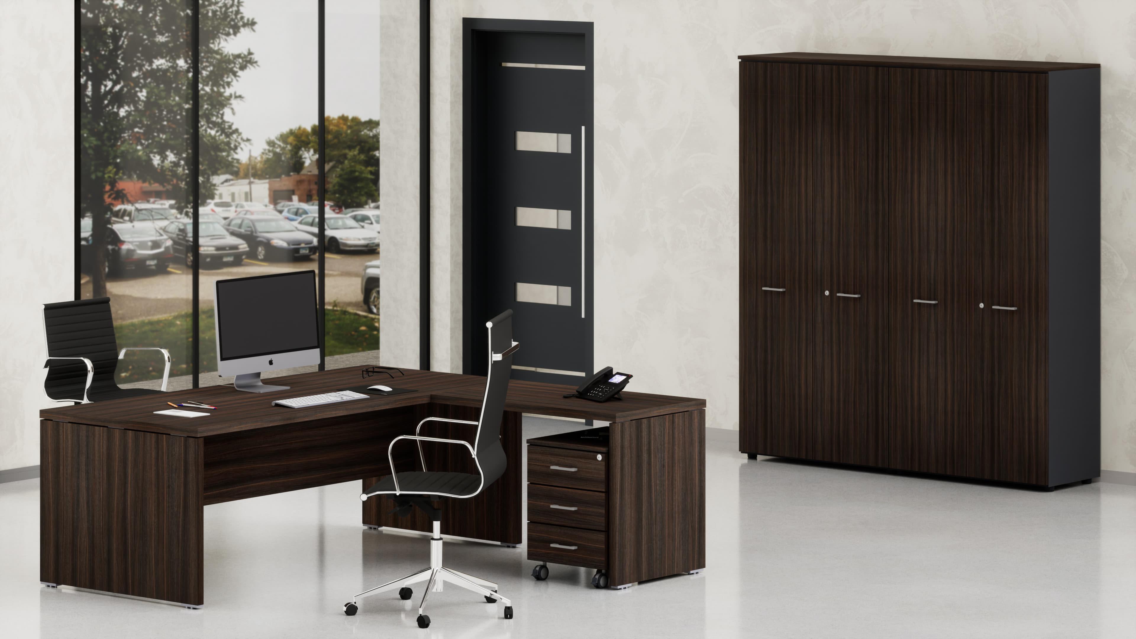 Uffici direzionali BETA scrivania con allungo, cassettiera e contenitori universali alti