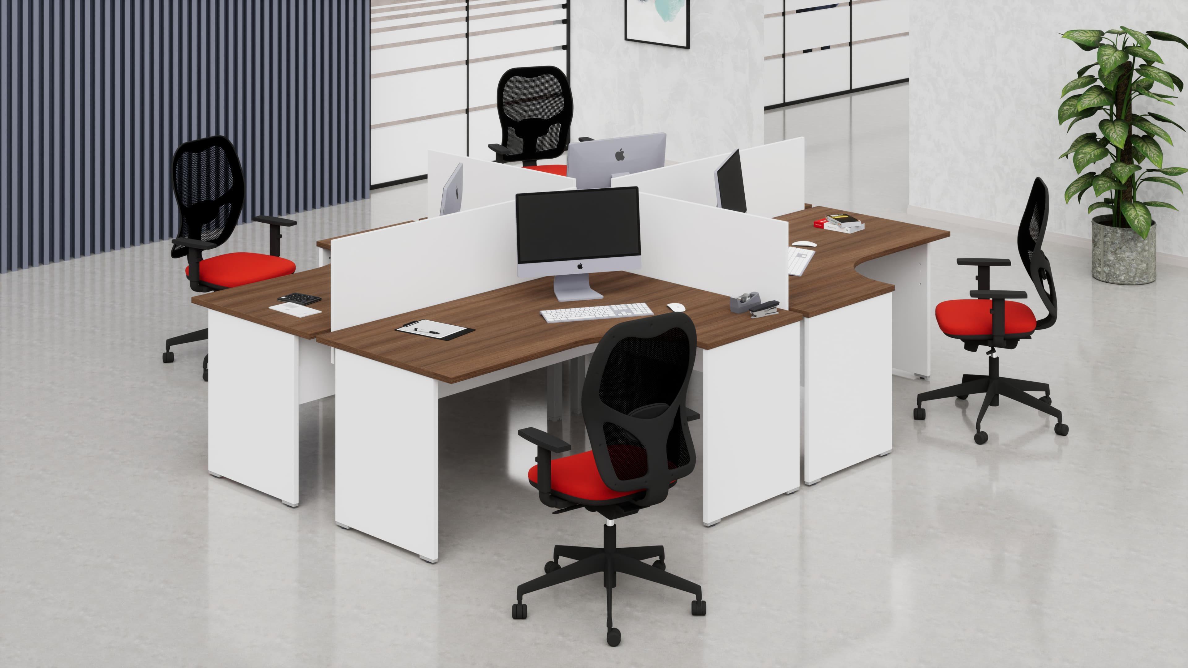 Scrivanie workstation simmetriche 4 postazioni