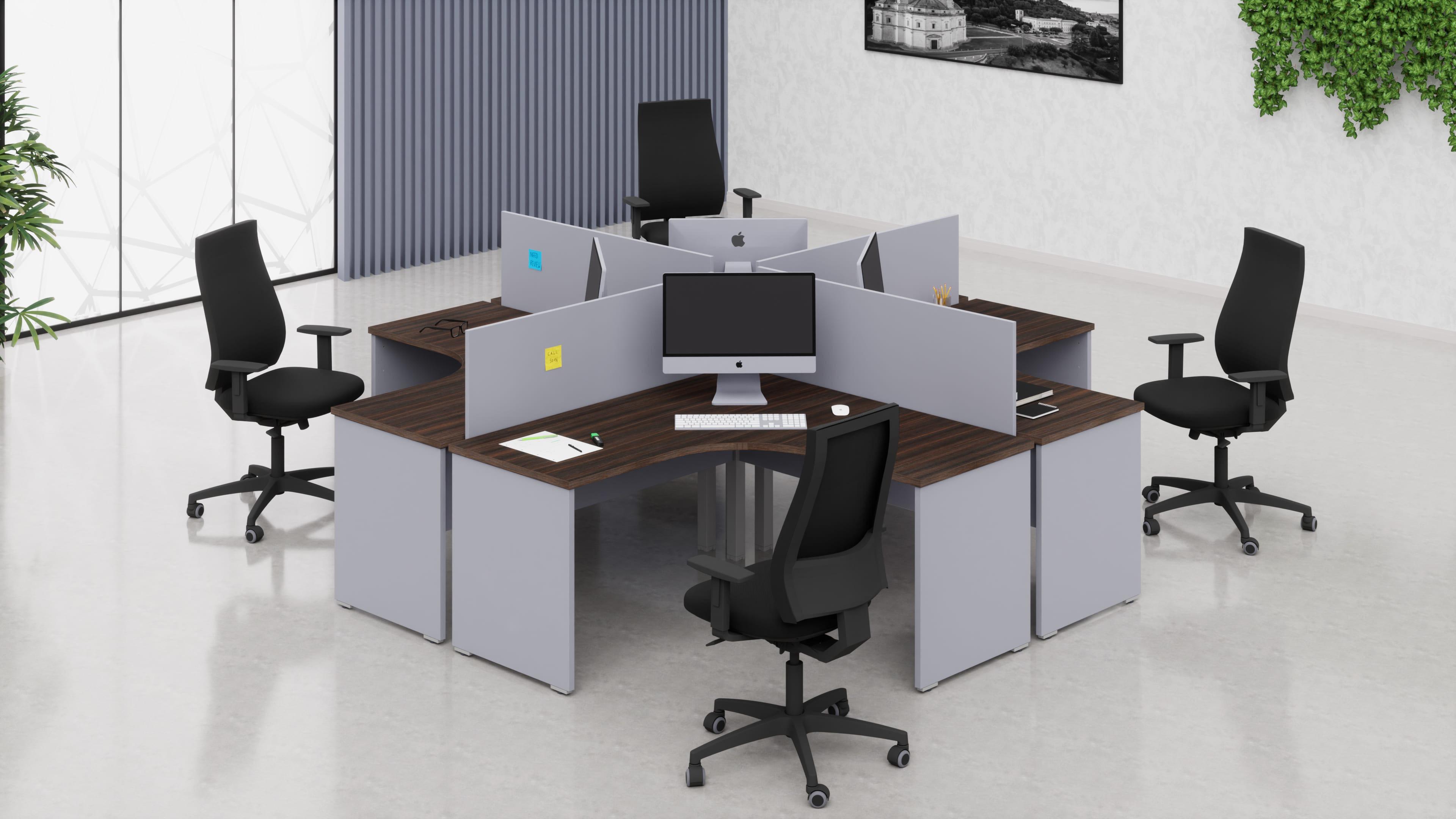 4 Scrivanie workstation ufficio operative NET pannello L.140/140 con pannelli frontali