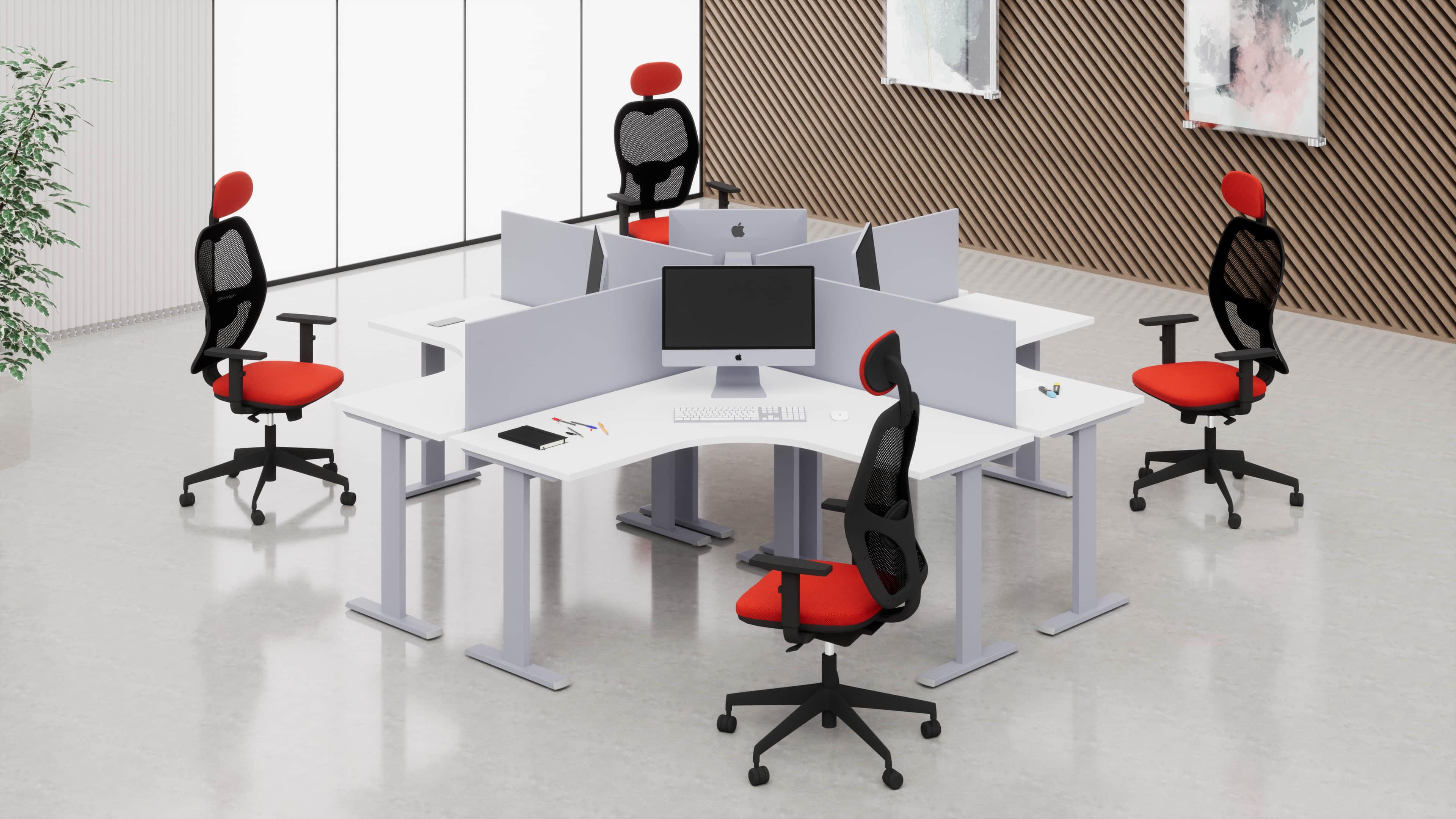 Scrivania workstation simmetrica con struttura metallica 4 postazioni
