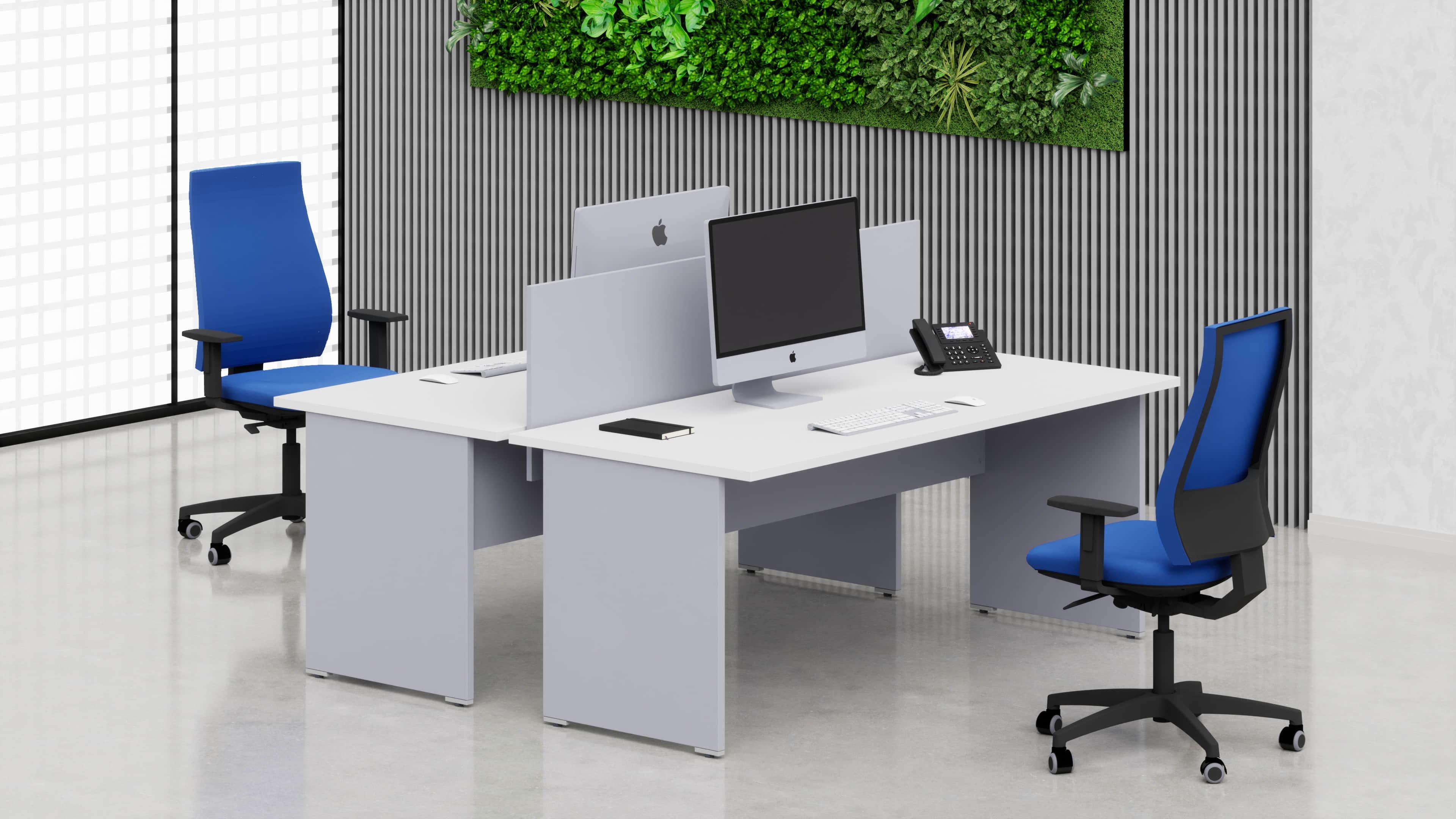 2 Scrivanie ufficio operative NET pannello L.80/100/120/140/160/180 con pannello frontale