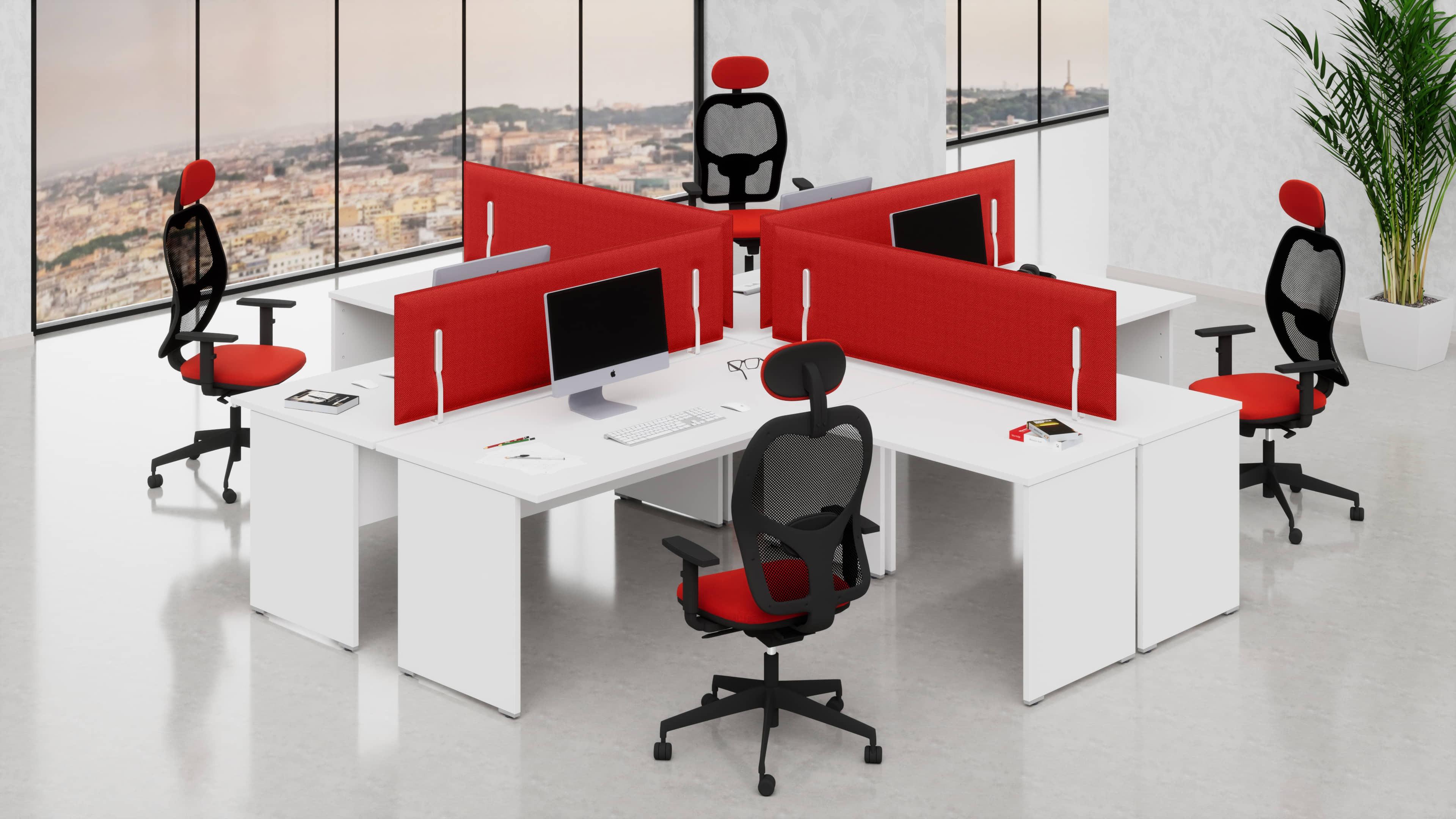 4 Scrivanie ufficio operative NET pannello L.140/160/180 con allungo laterale reversibile