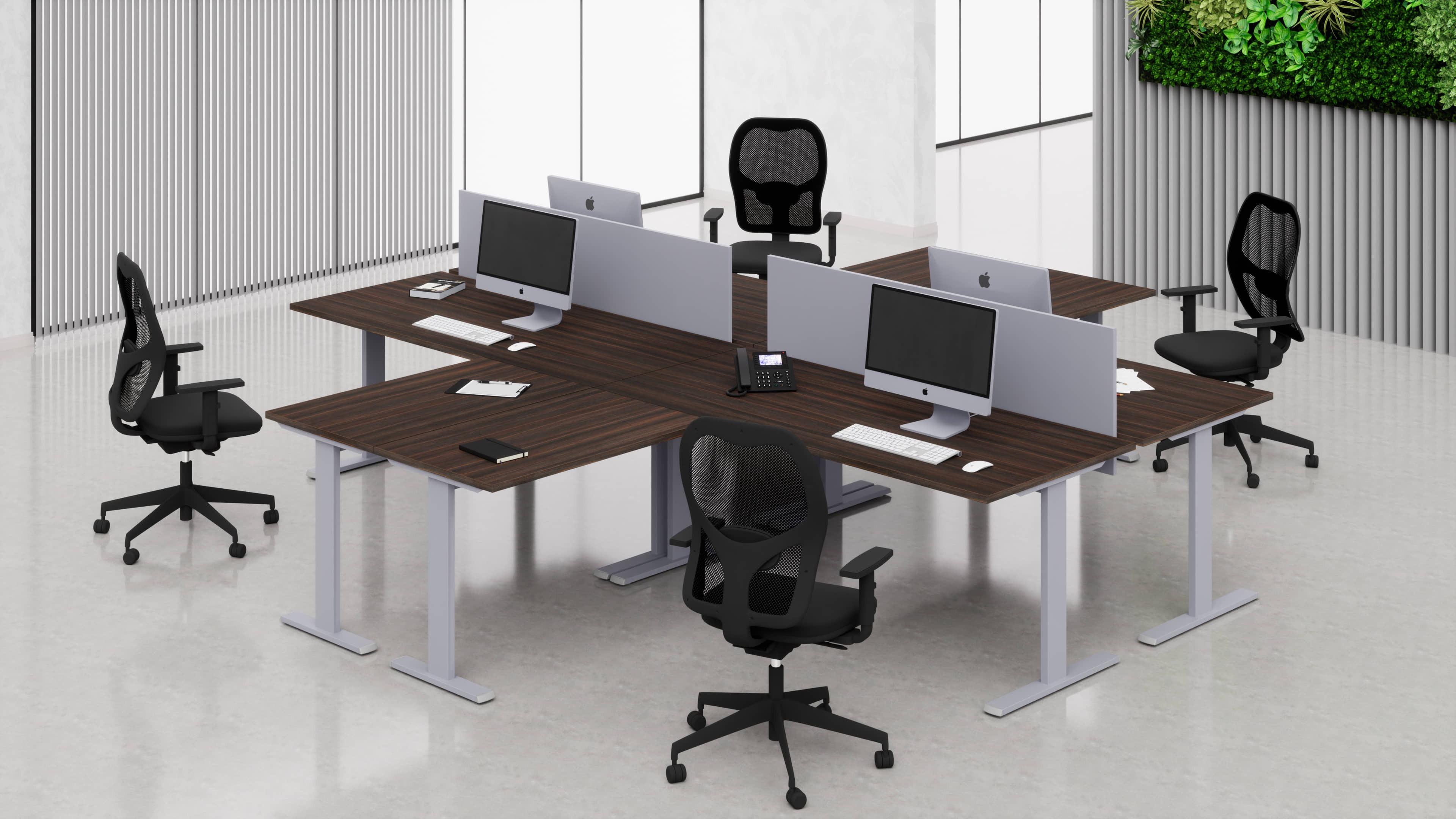 4 Scrivanie ufficio operative NET metallica L.80/100/120/140/160/180 con allunghi laterali e pannelli frontali