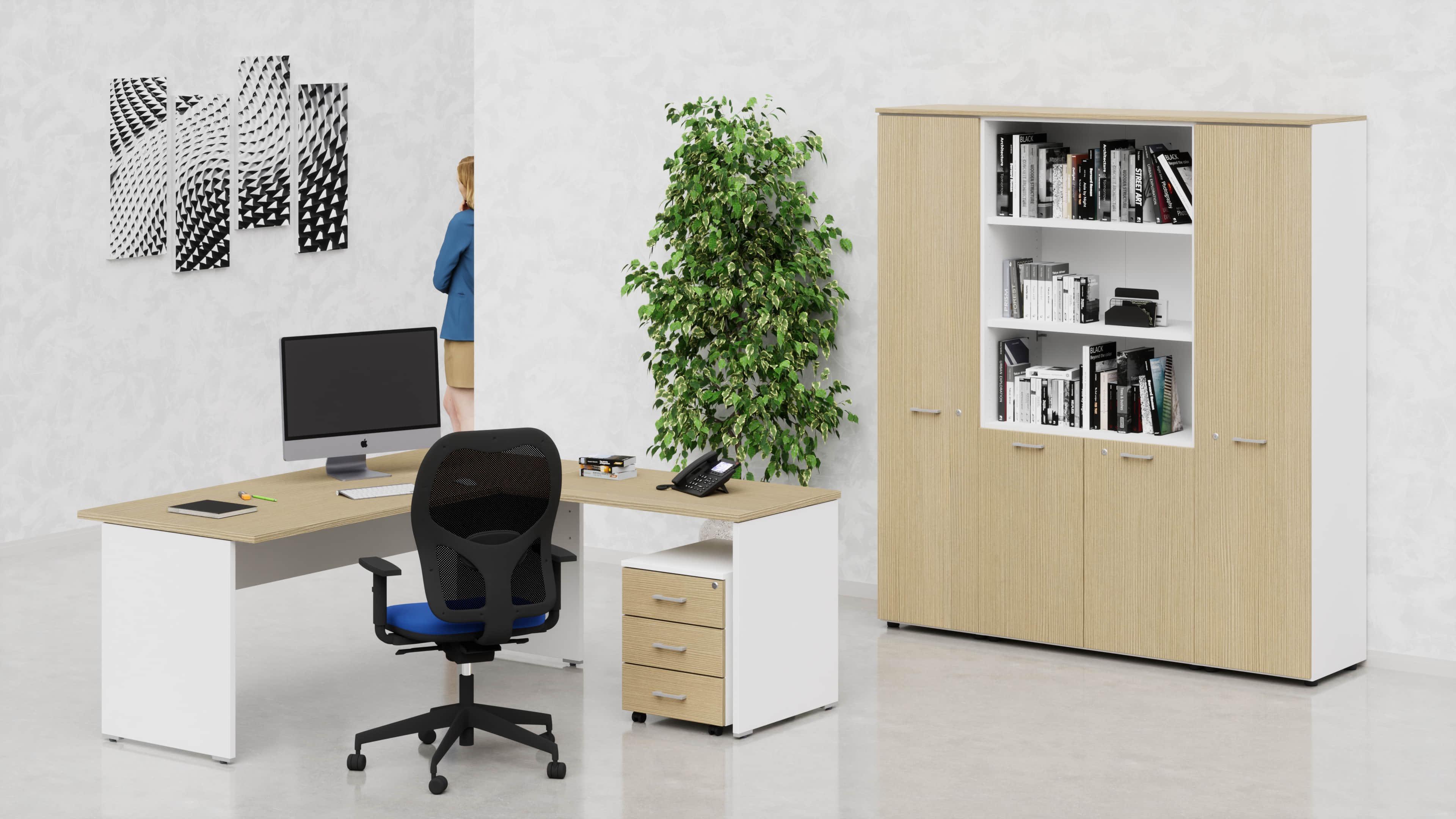 Uffici operativi NET pannello scrivania, allungo, cassettiera e contenitori universali alti