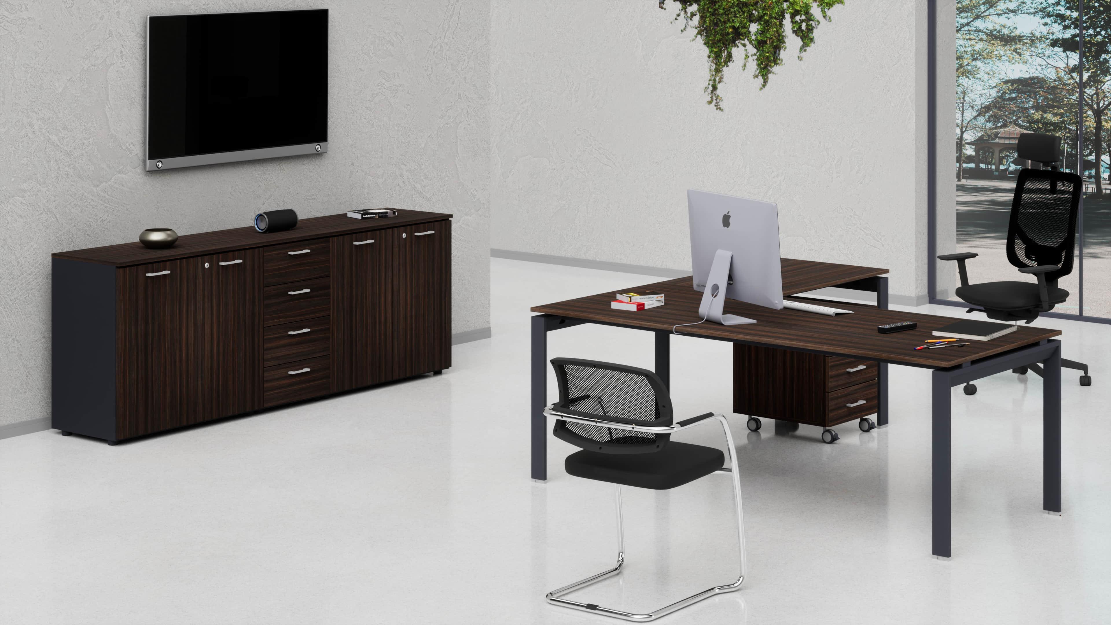 Uffici direzionali SCACCO scrivania, cassettiera e contenitori universali bassi