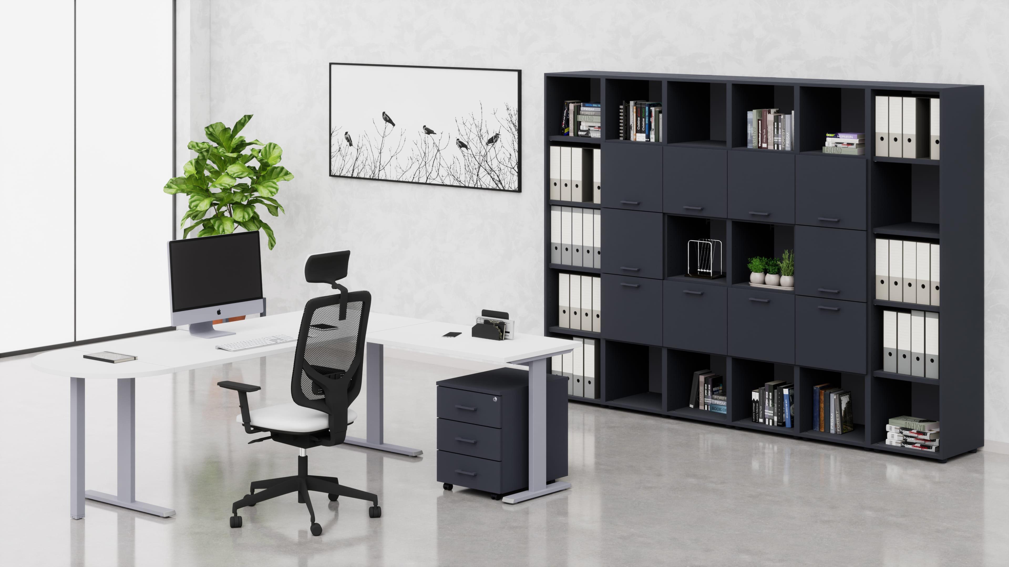 Uffici operativi NET metallica scrivania, allungo, cassettiera e contenitori universali alti