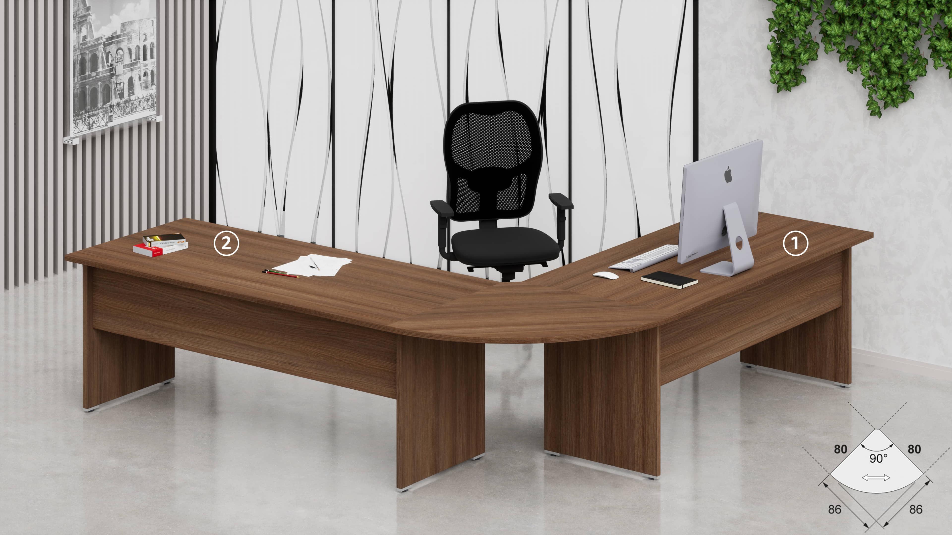 2 Scrivanie ufficio operative NET pannello L.80/100/120/140/160/180 con raccordo 90°