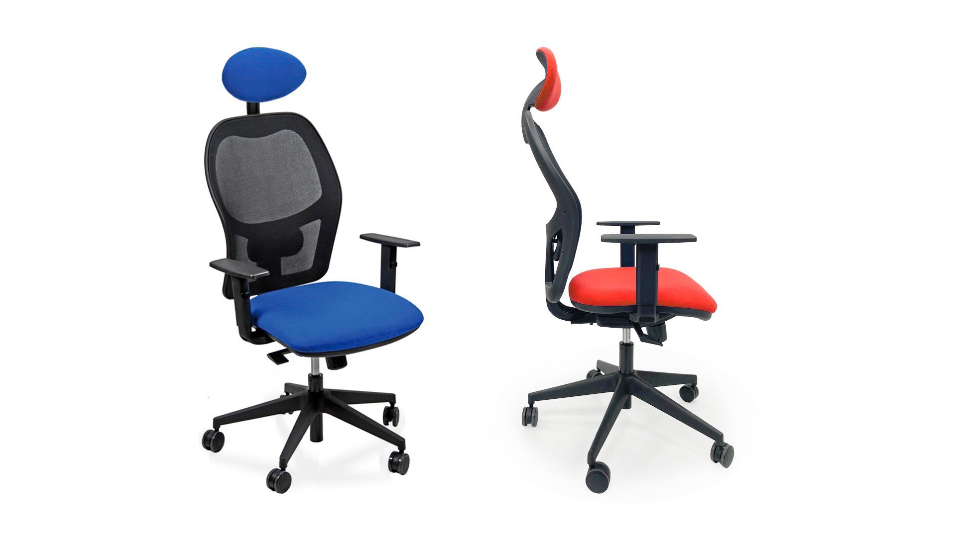 Sedia da ufficio girevole con braccioli rivestimento in tessuto - rete e poggiatesta
