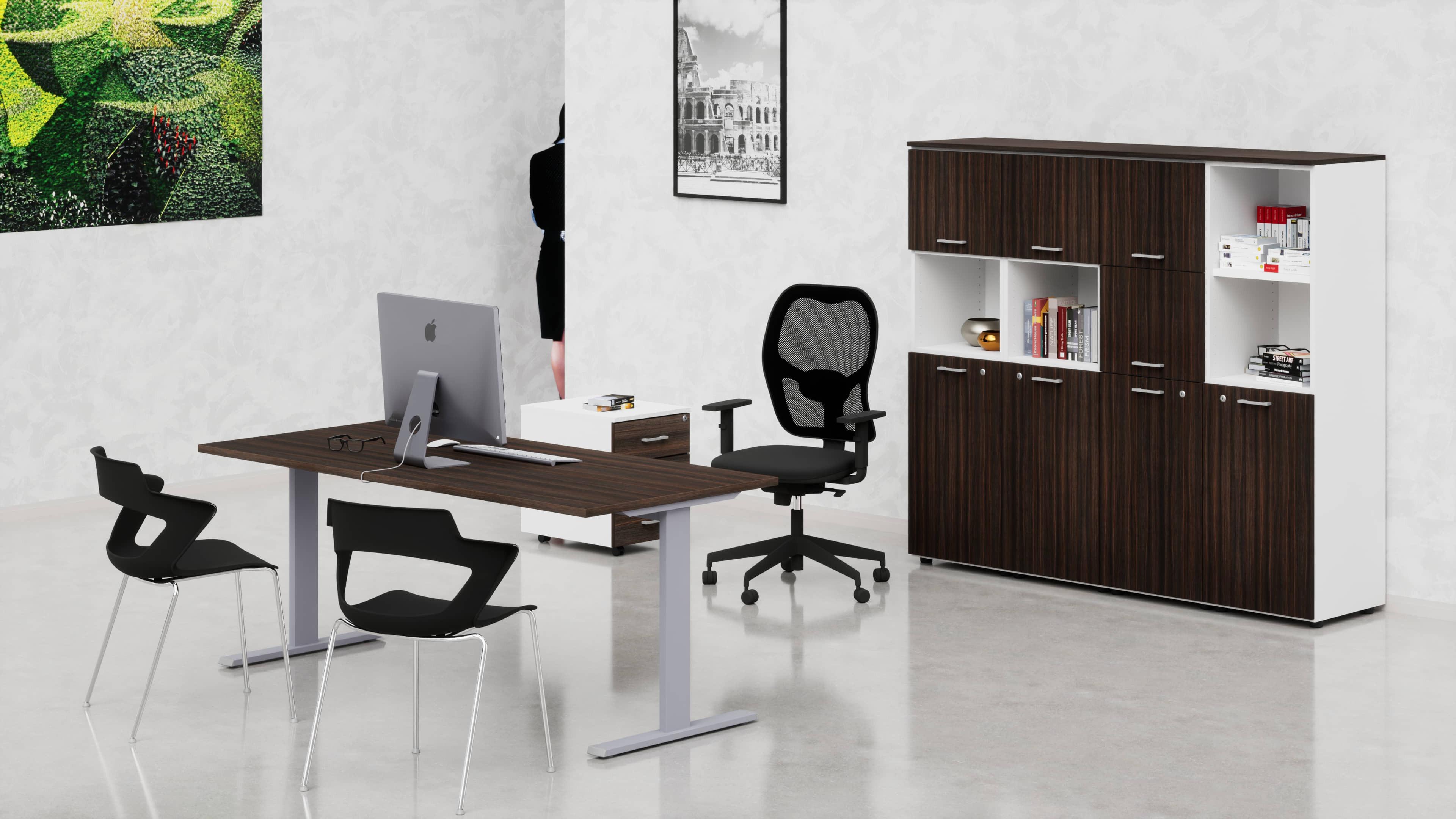 Uffici operativi NET metallica scrivania, cassettiera e contenitori universali medi 8 ante
