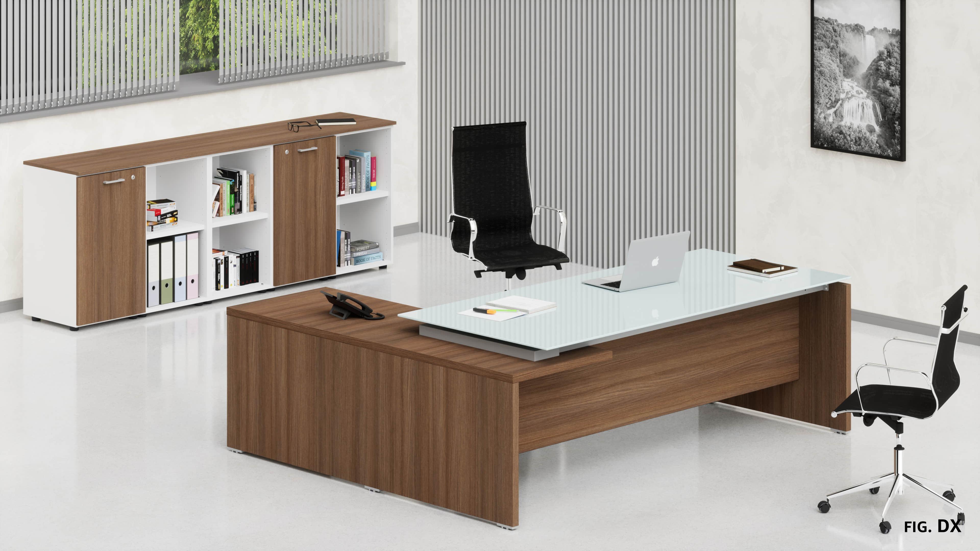 Uffici direzionali BETA scrivania piano vetro con allungo ribassato, cassettiera e contenitori universali bassi