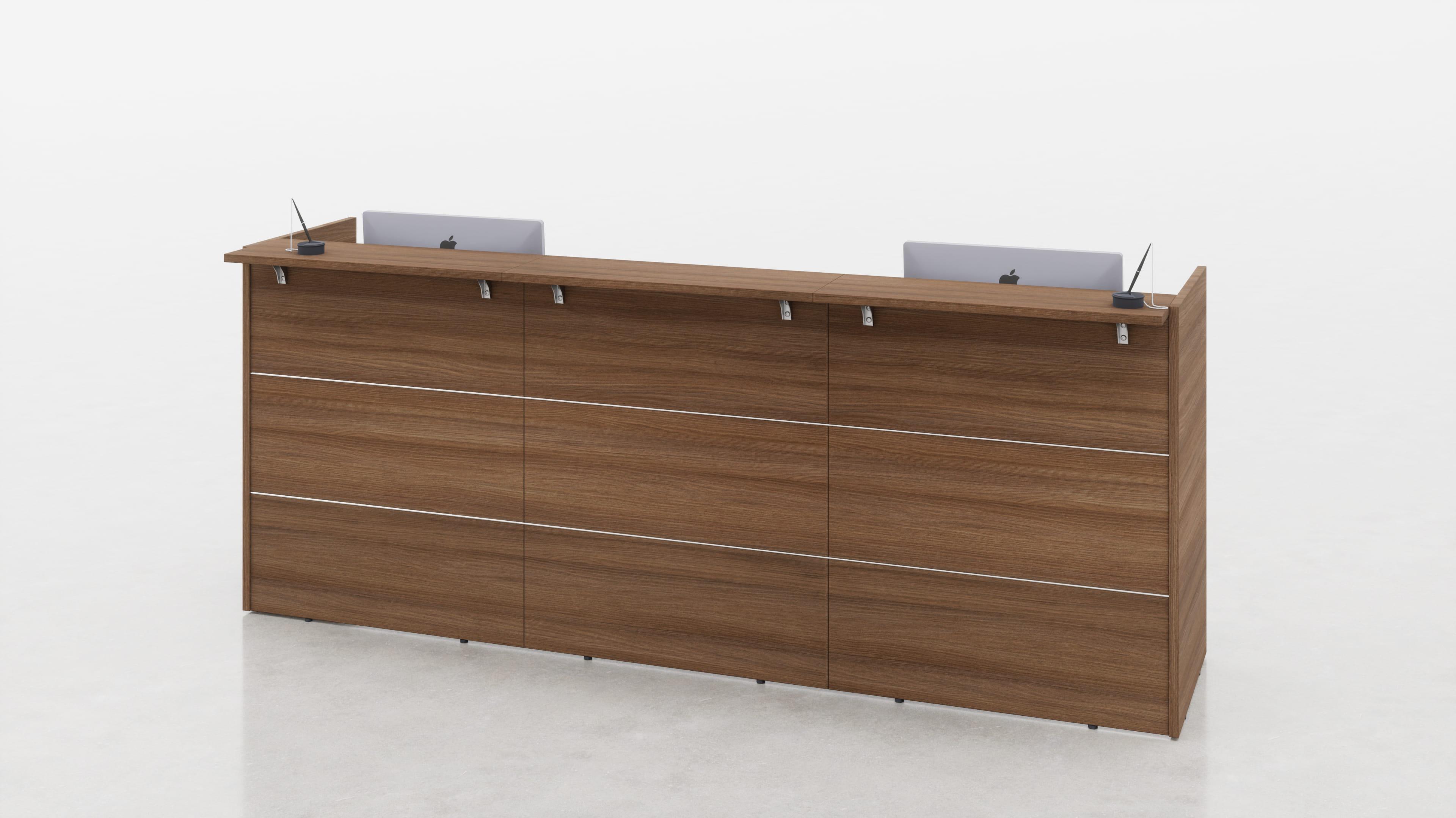 Reception lineare con top mensola legno o vetro L.275