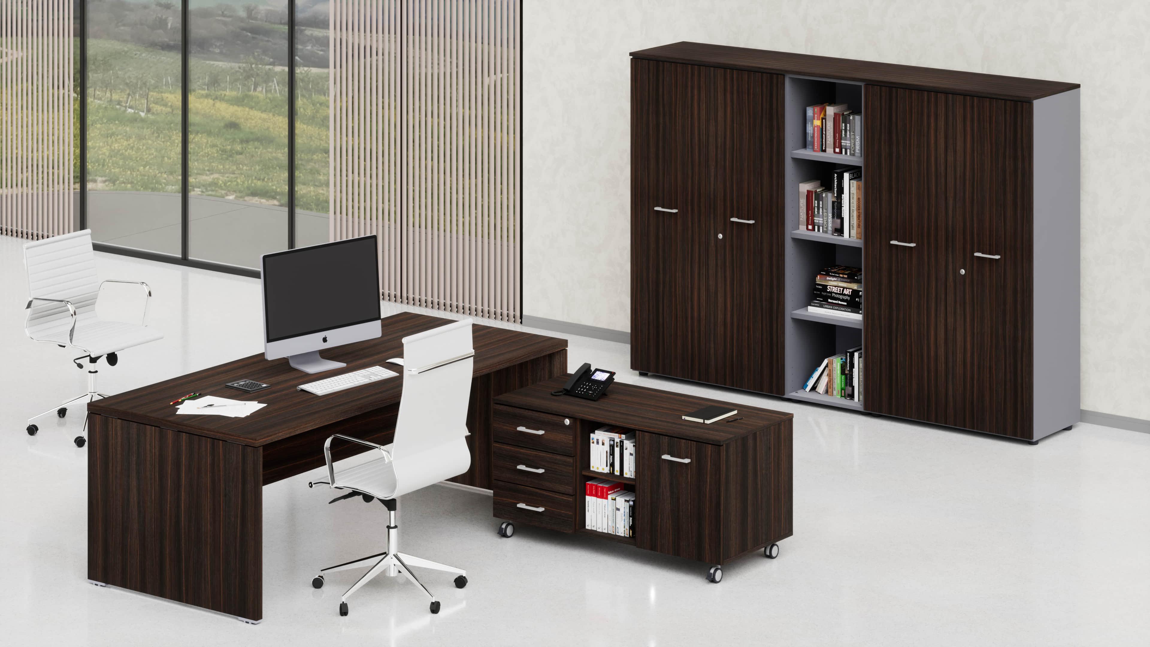 Uffici direzionali BETA scrivania, mobile di servizio e contenitori universali medi
