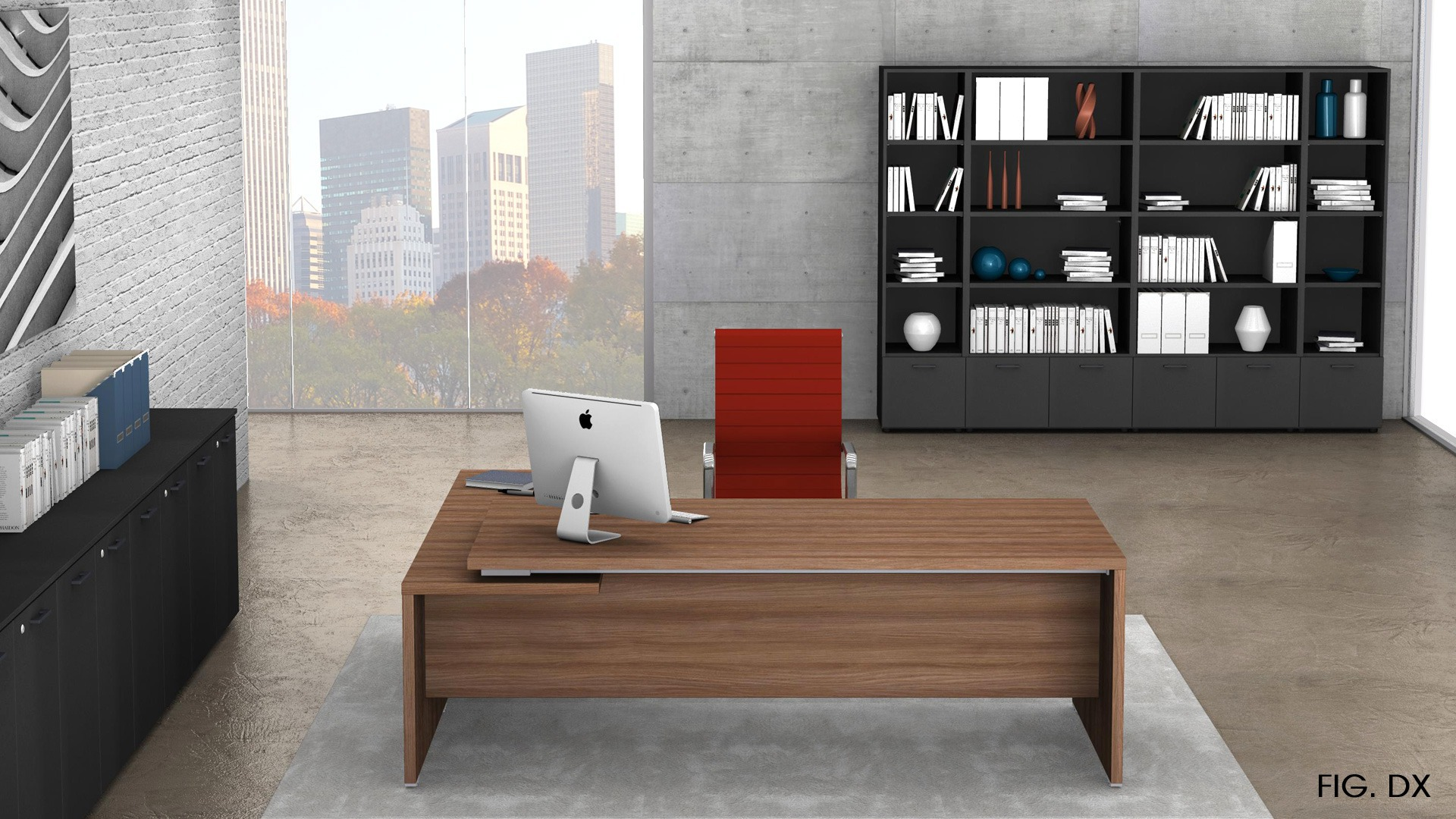 Uffici direzionali BETA scrivania con allungo ribassato, cassettiera e contenitori universali alti