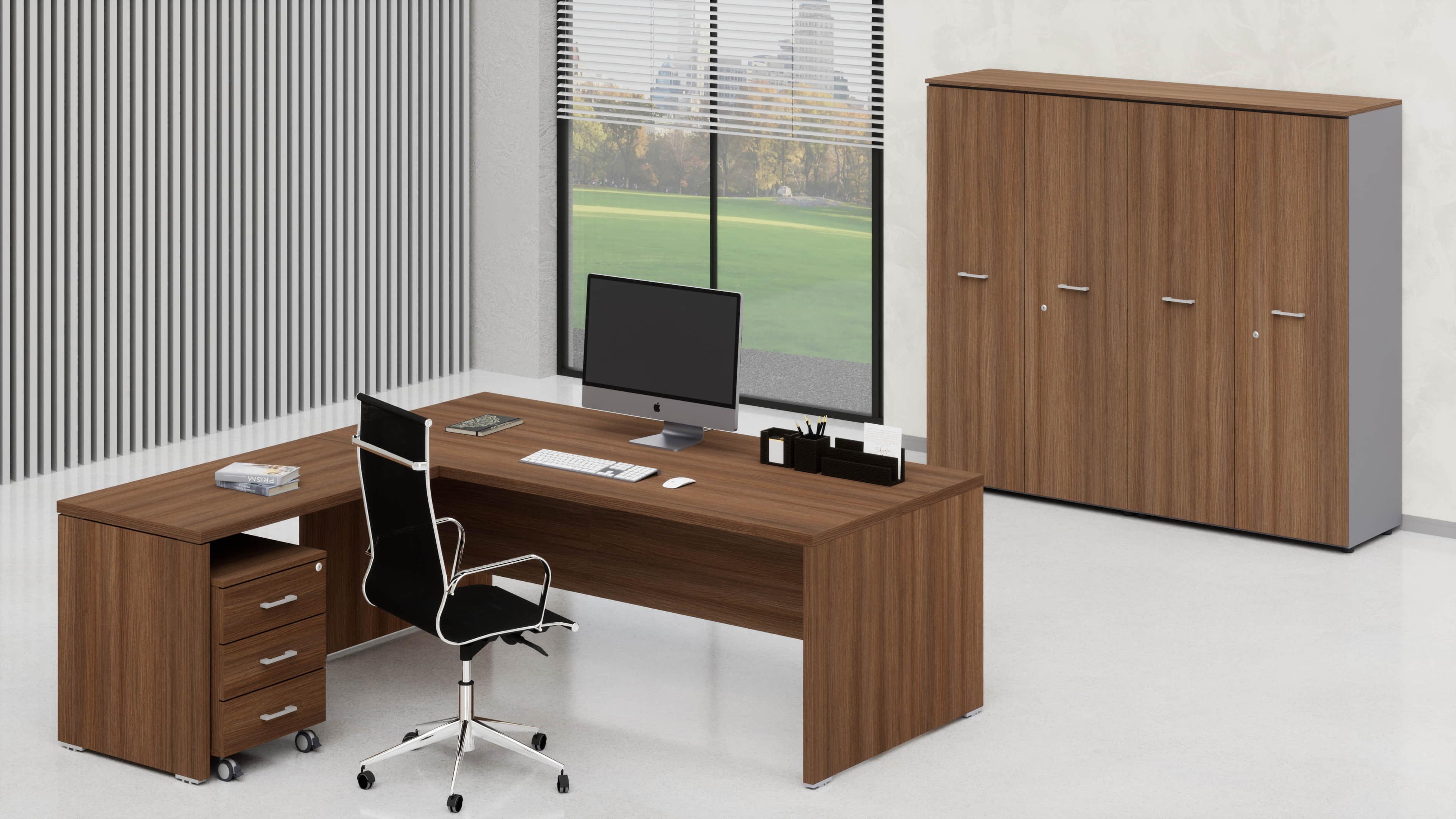 Uffici direzionali BETA scrivania, allungo, cassettiera e contenitori universali medi